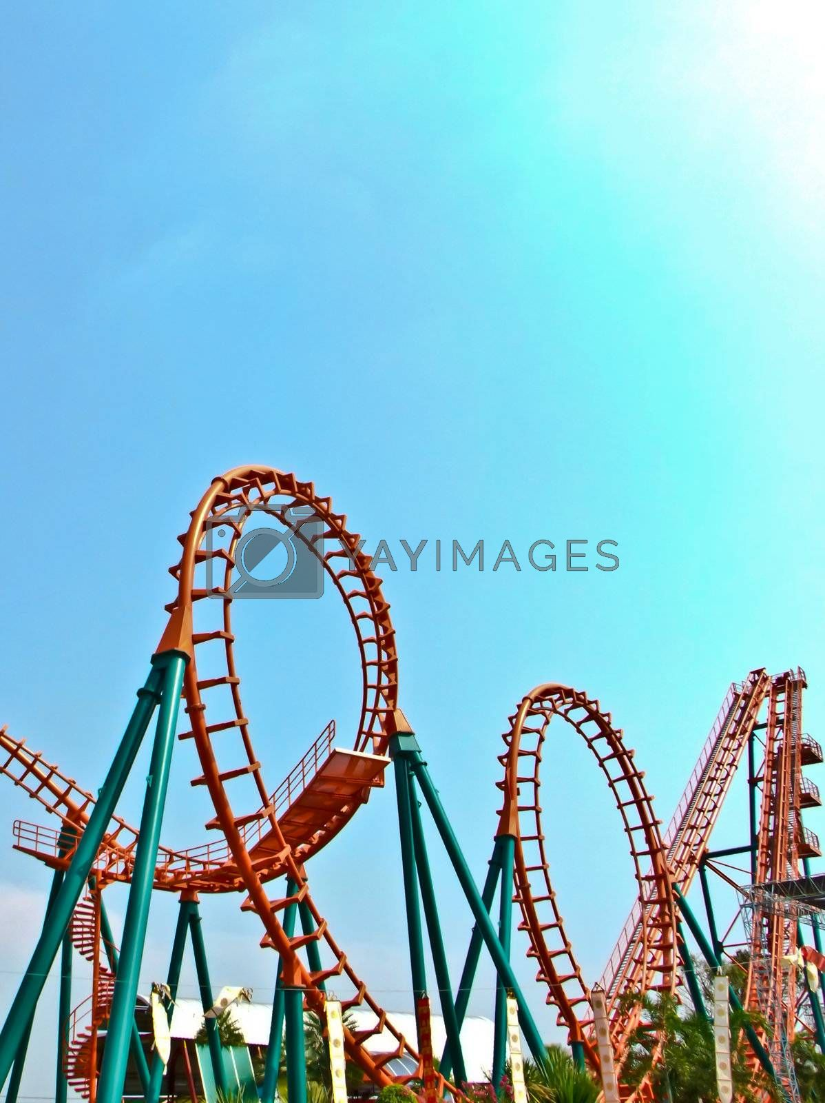 The colorful of roller coaster so long and twist