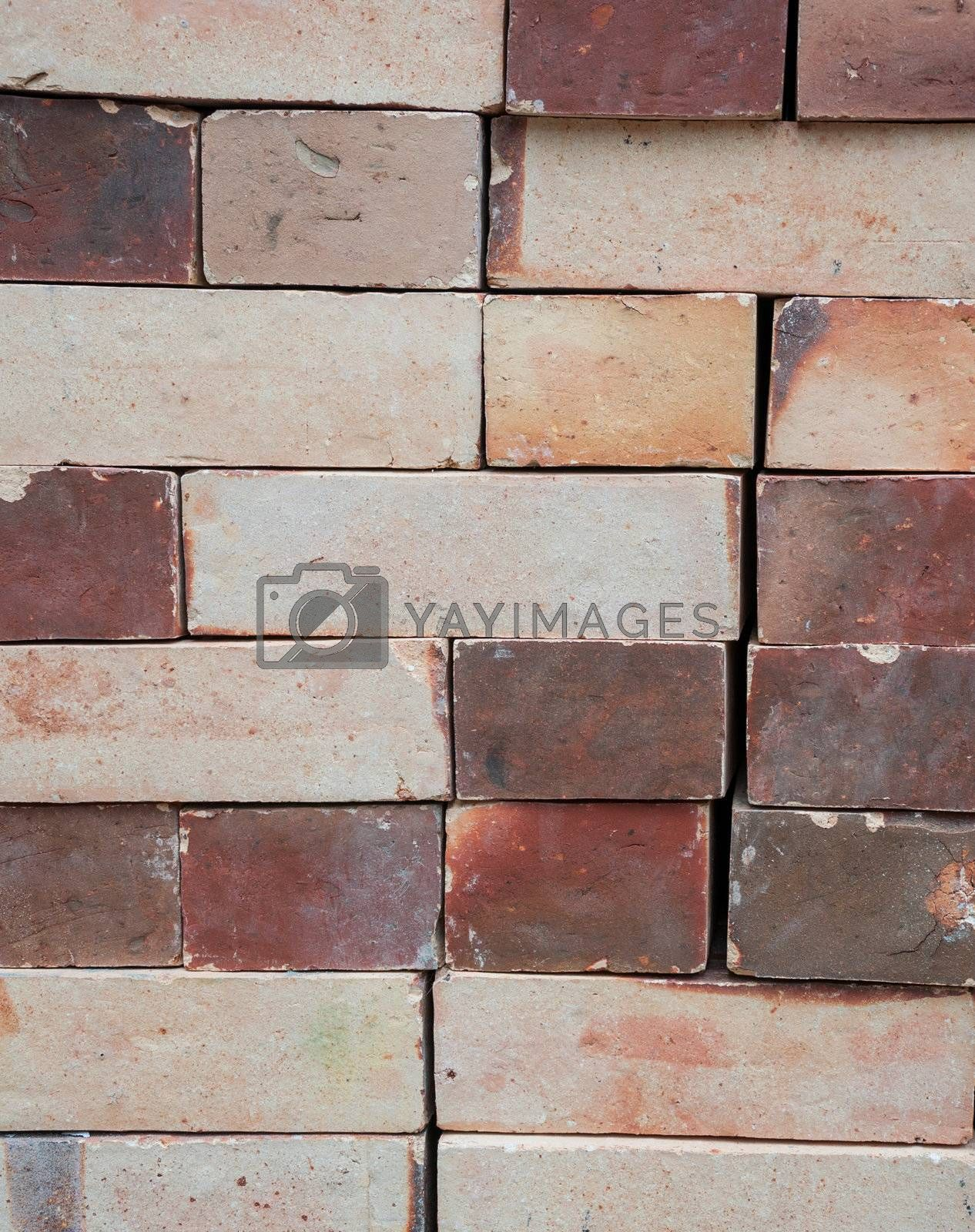 The column of bricks that made by hand of Thai people