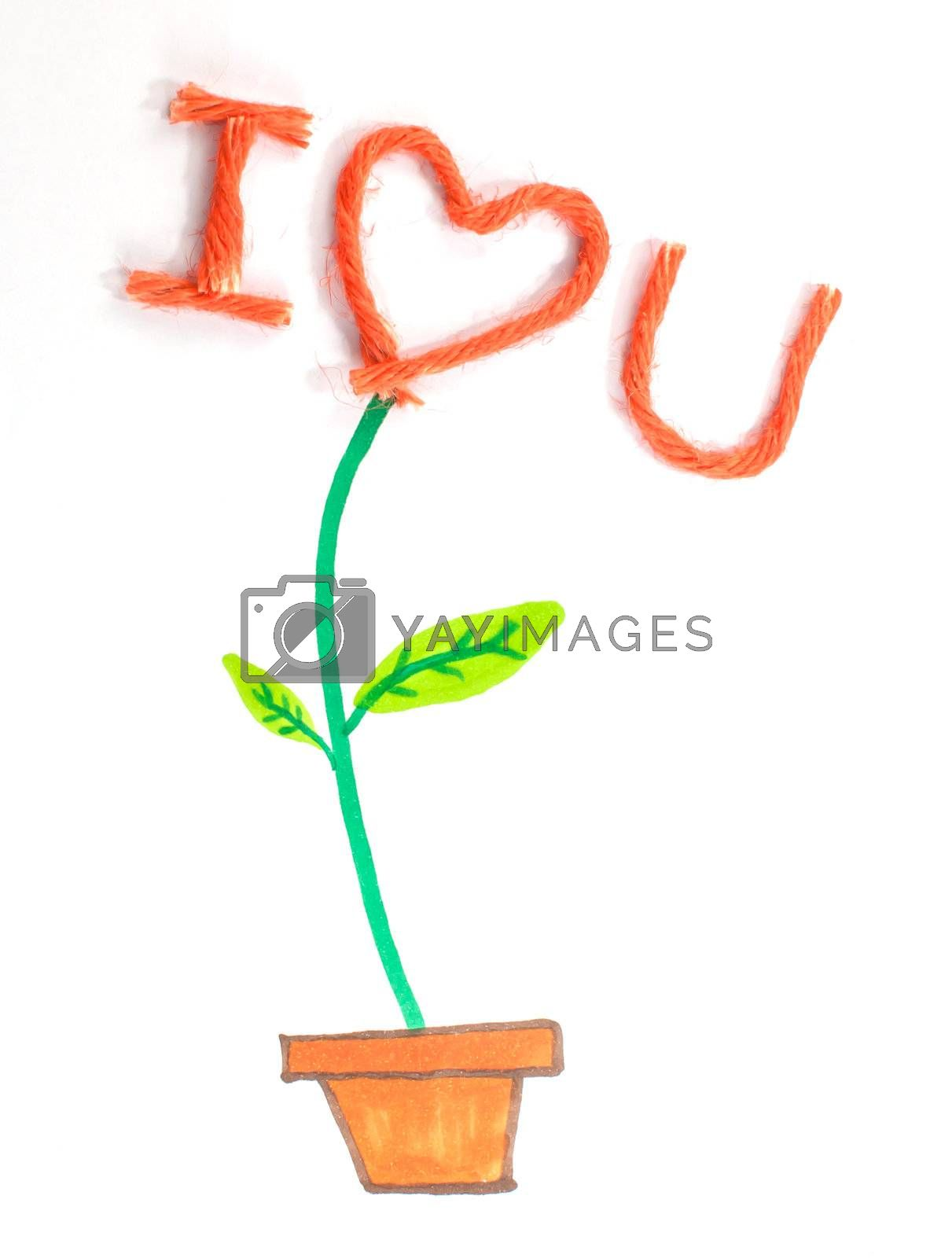 The colorful plant that contain of trunk (made by drawing) and loving flower (made by knitting wool)