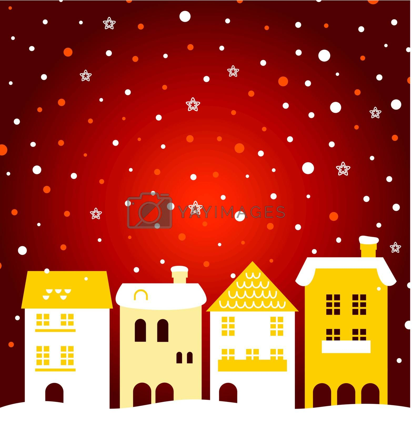 Winter town - gold and red. Vector Illustration
