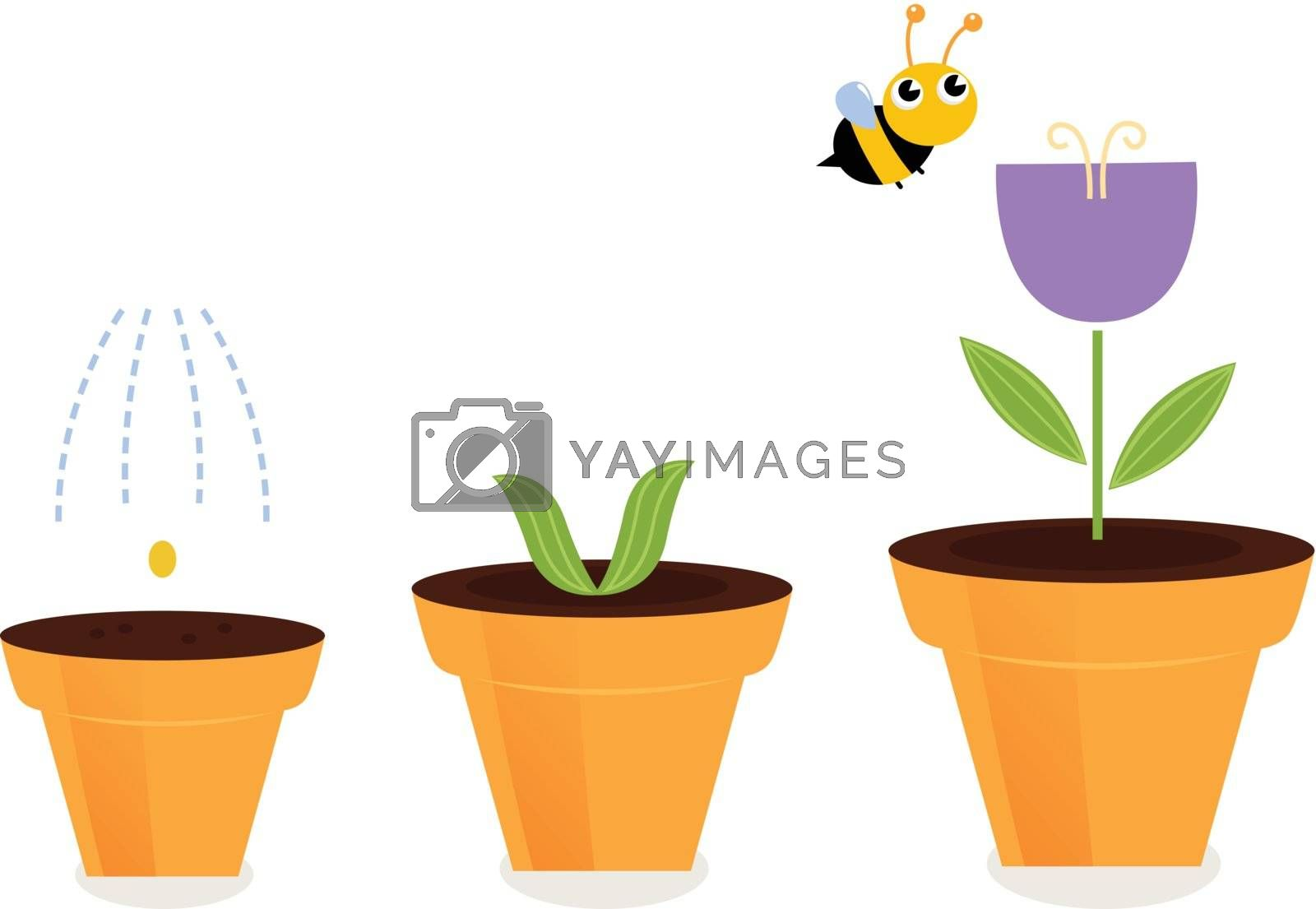 Purple spring flower growth. Vector cartoon Illustration