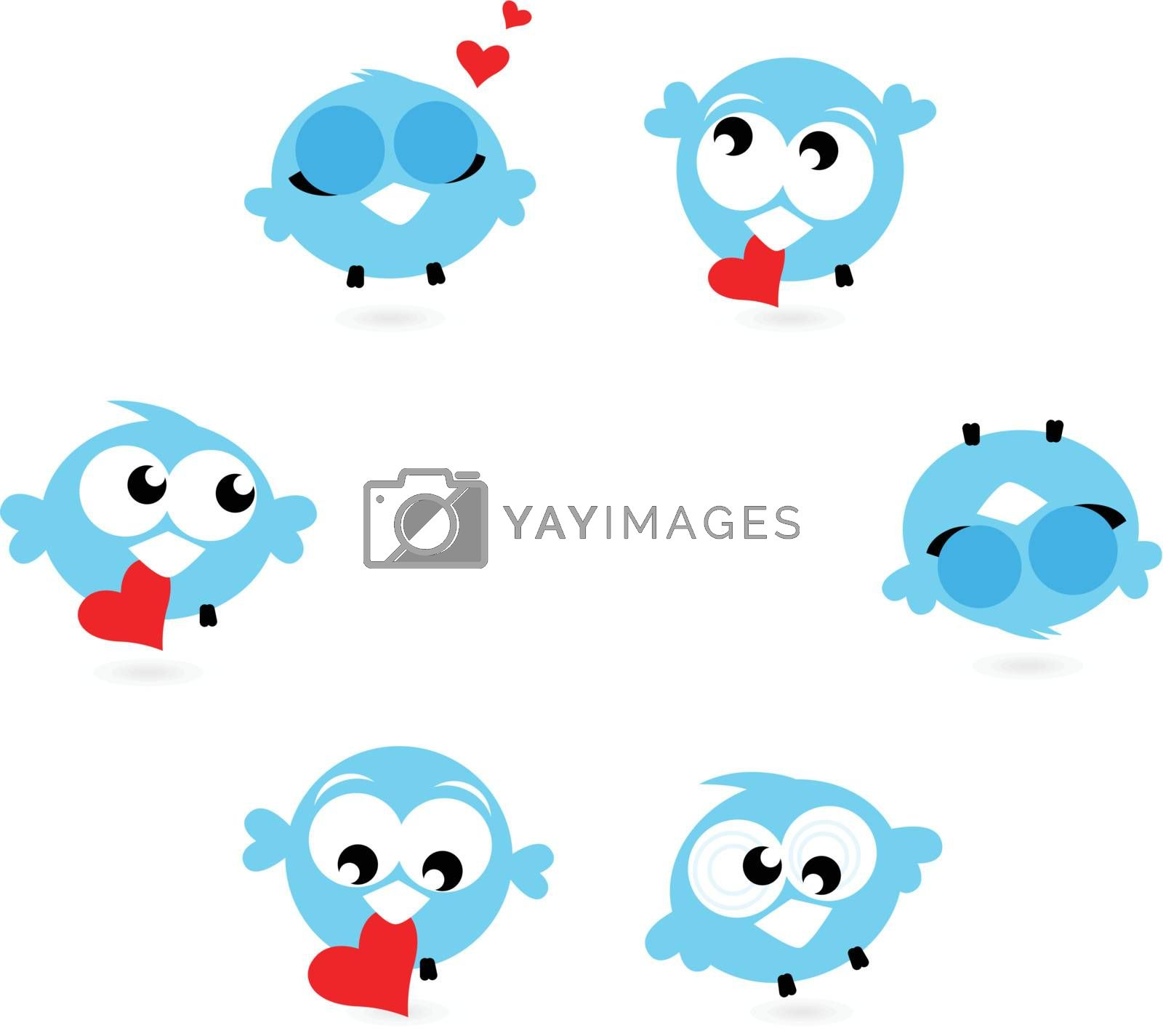 Love twitter birds in different poses set. Vector Illustration