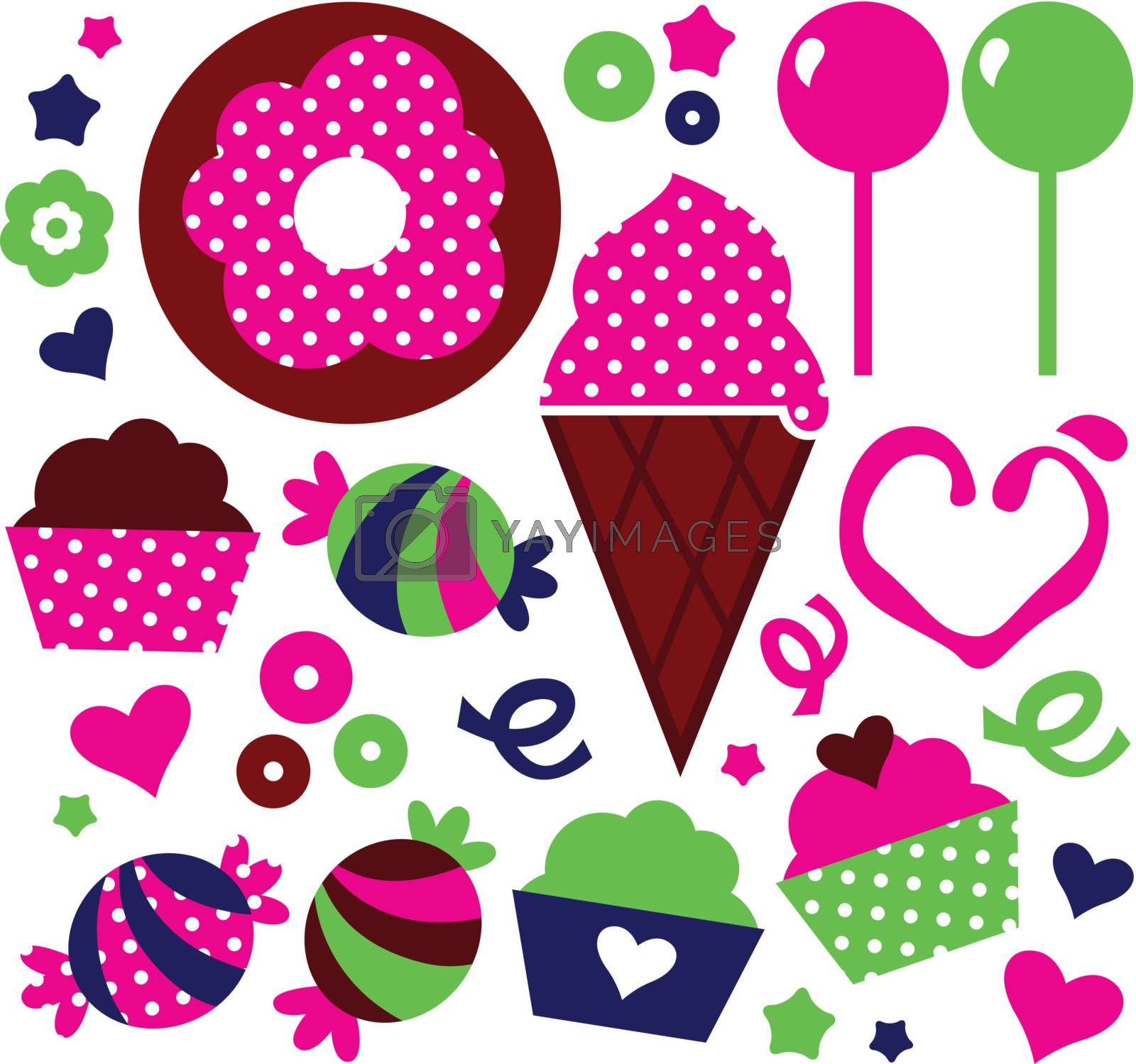 Sweet Muffin set for your party. Vector Illustration