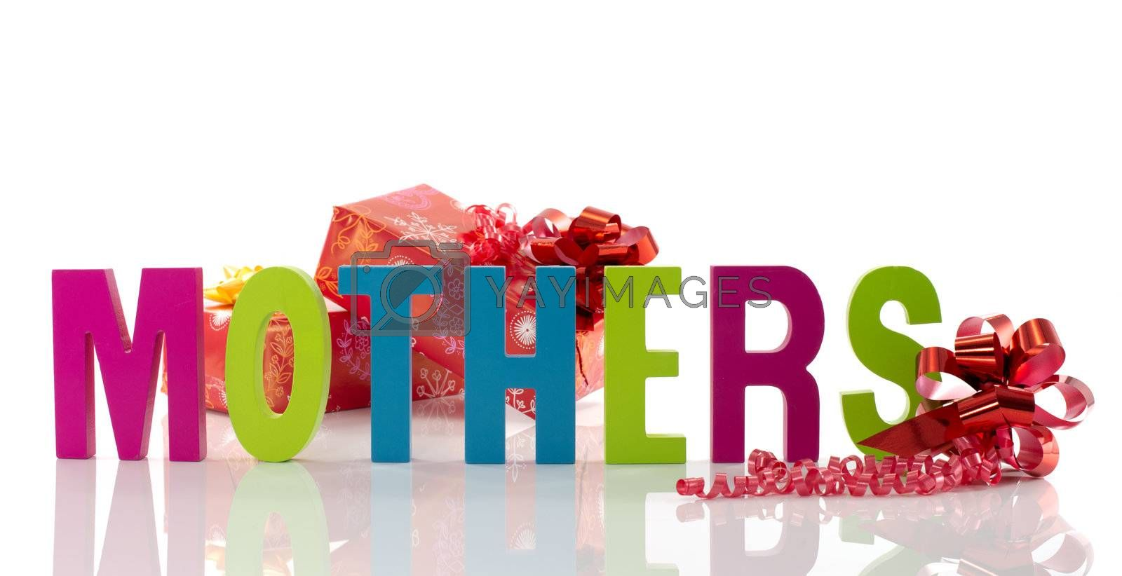 letters in red green blue with mothers text on white background with presents