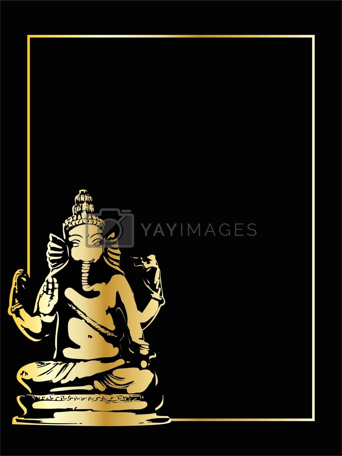 the gold vector ganesha statue eps 8