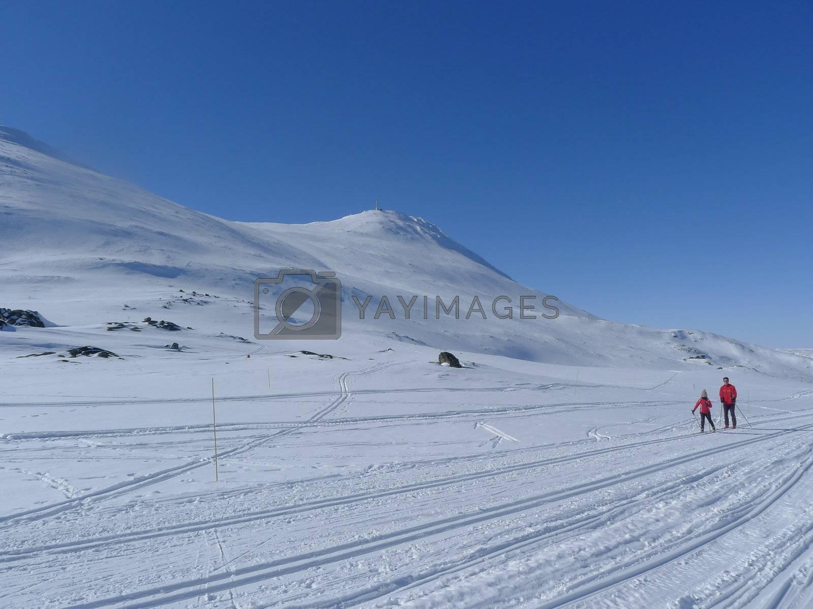 Skiing at Gaustatoppen, Norway