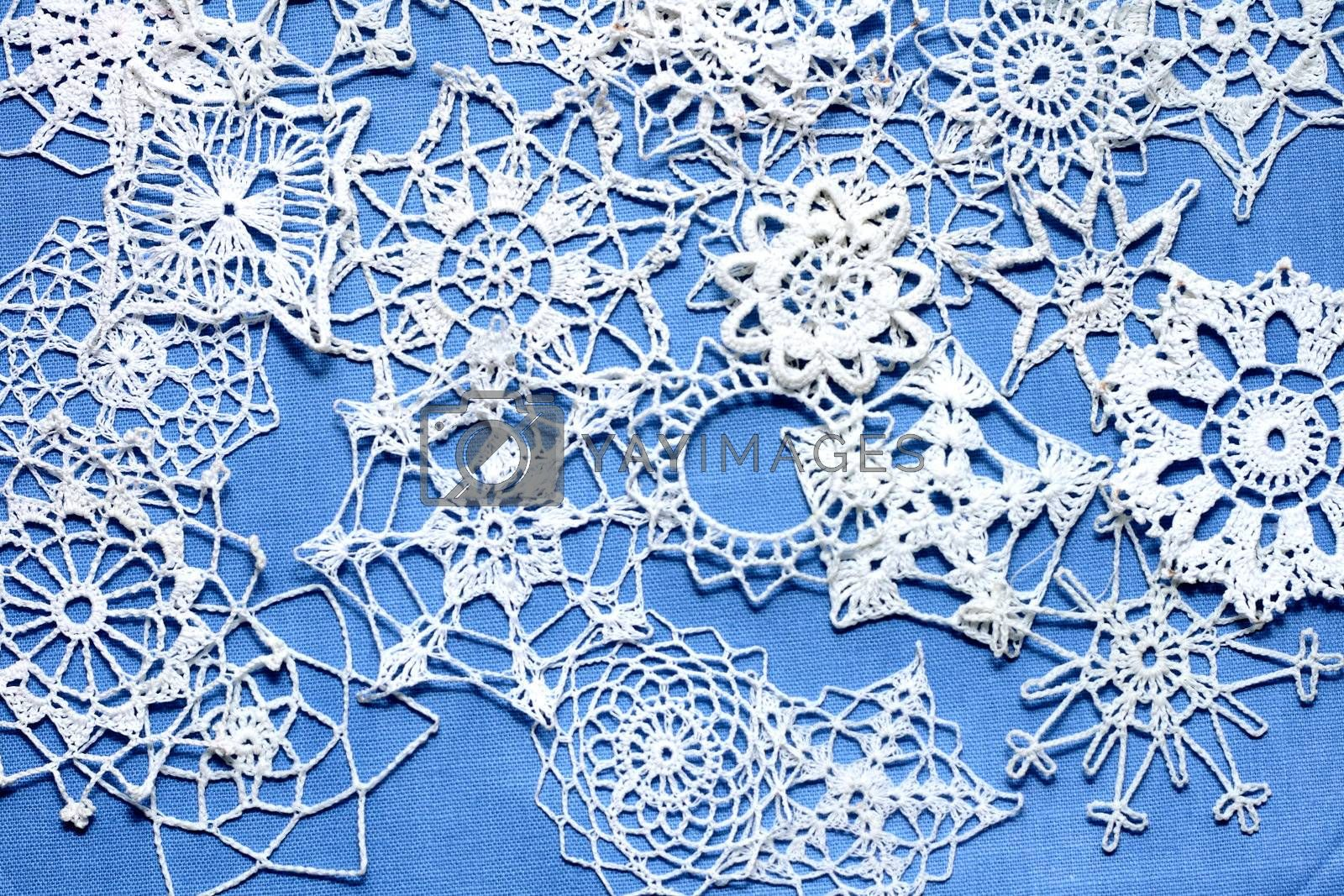 christmas snowflakes decoration on the blue background