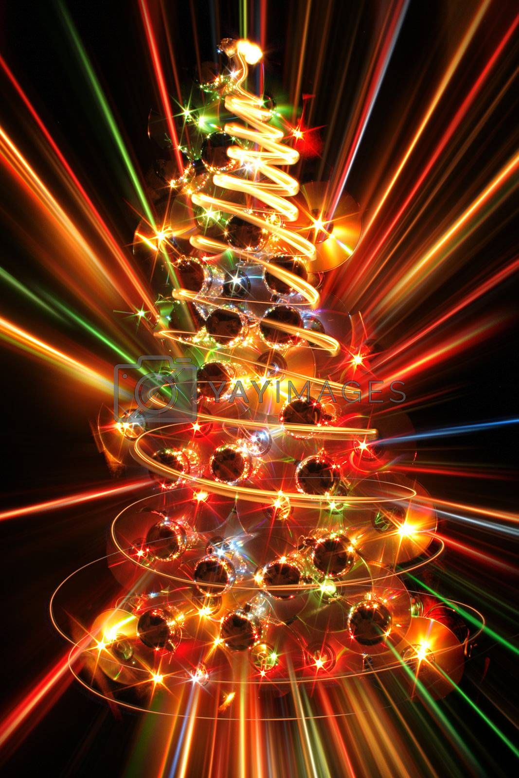 color xmas tree isolated on the black background