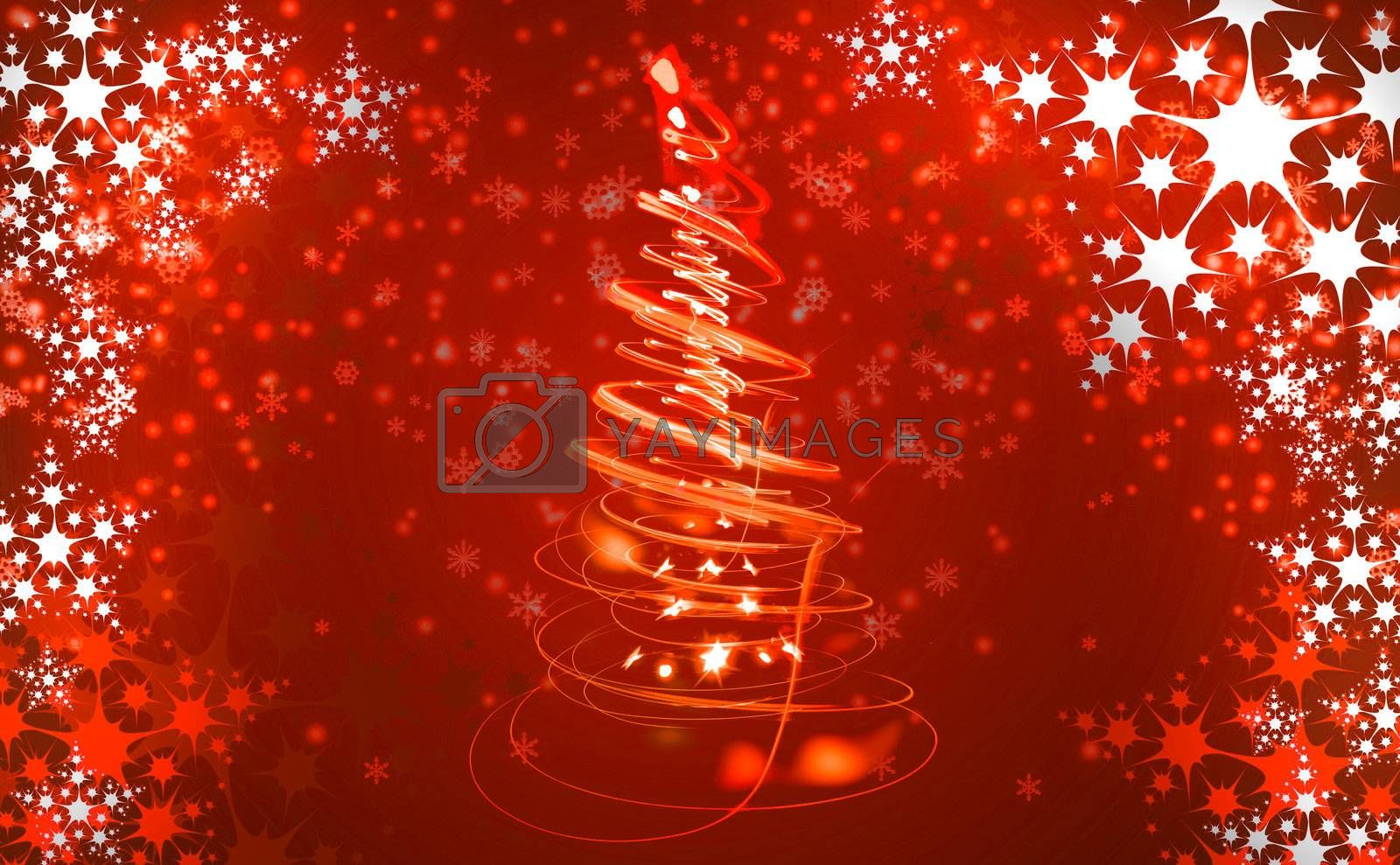 christmas tree in the red color as nice xmas background
