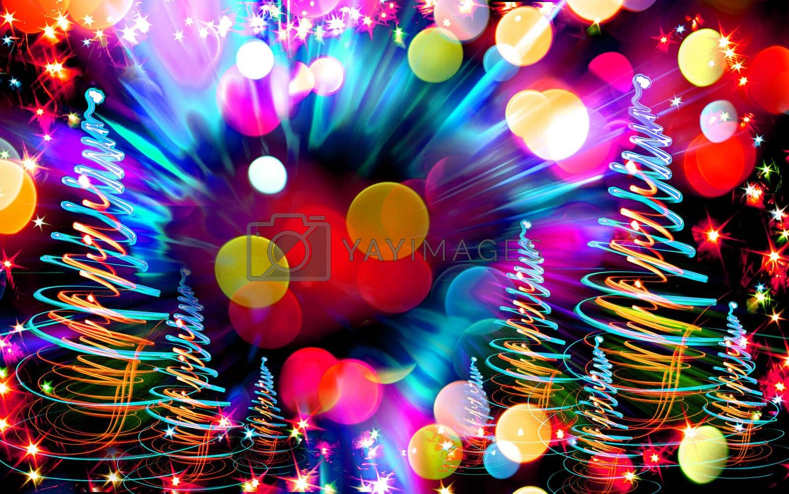 christmas forest from the color lights as nice christmas background
