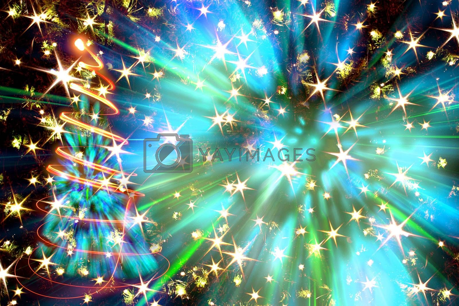christmas tree from the color lights as nice xmas background