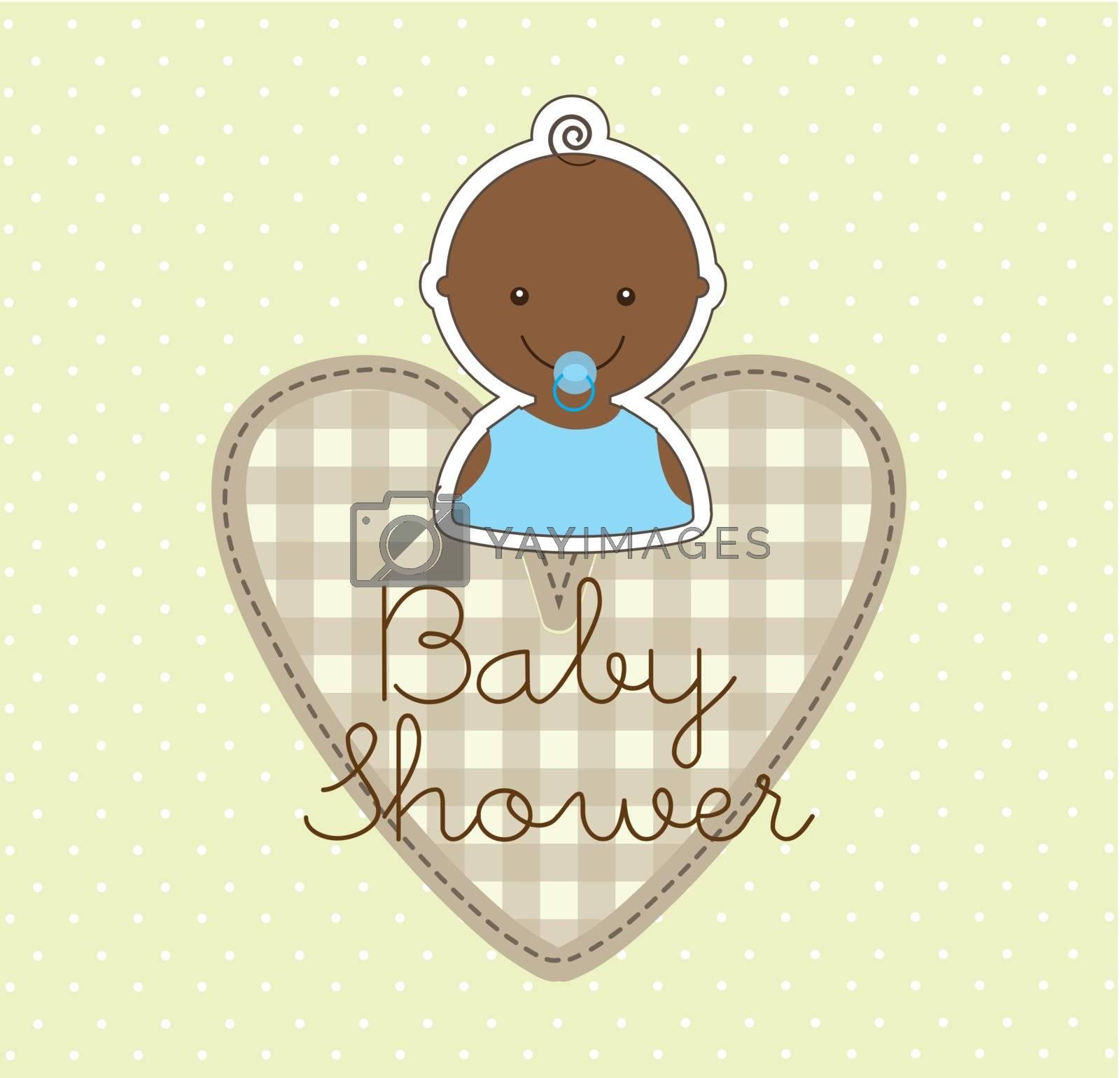 baby boy over beige background. vector illustration