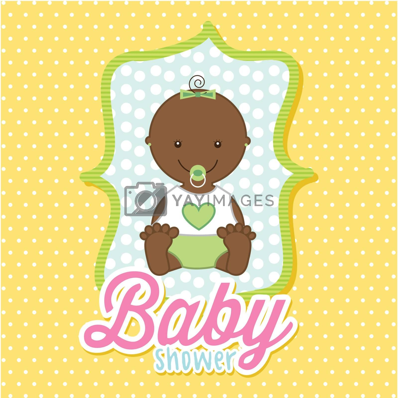baby girl over yellow background. vector illustration