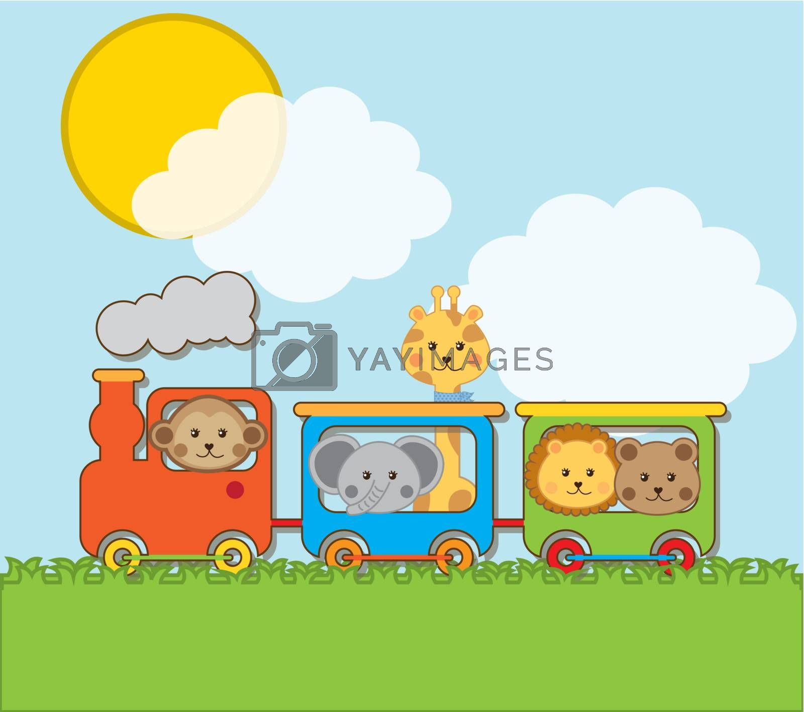 baby animals with train over landscape backgroun . vector