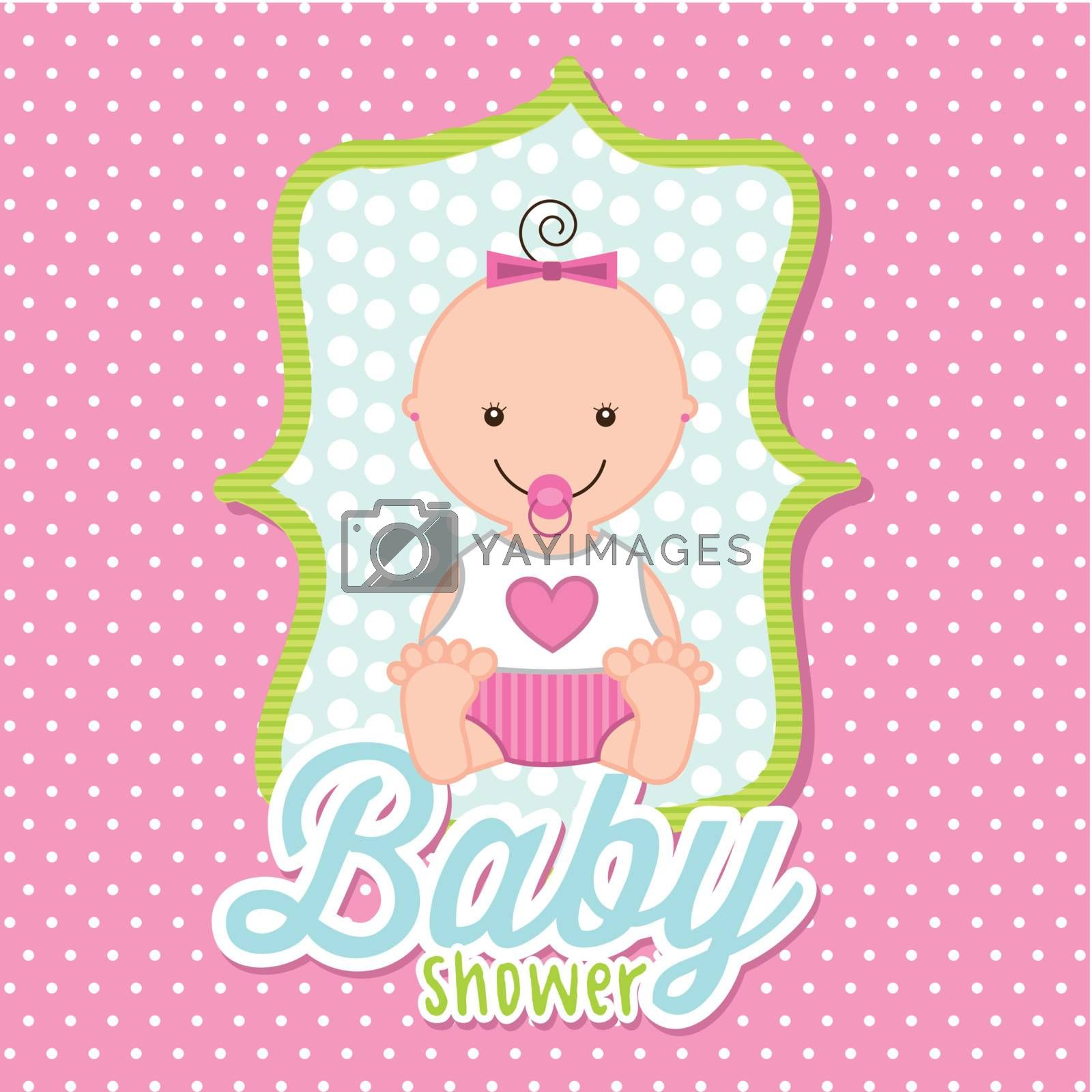 baby girl over pink background. vector illustration