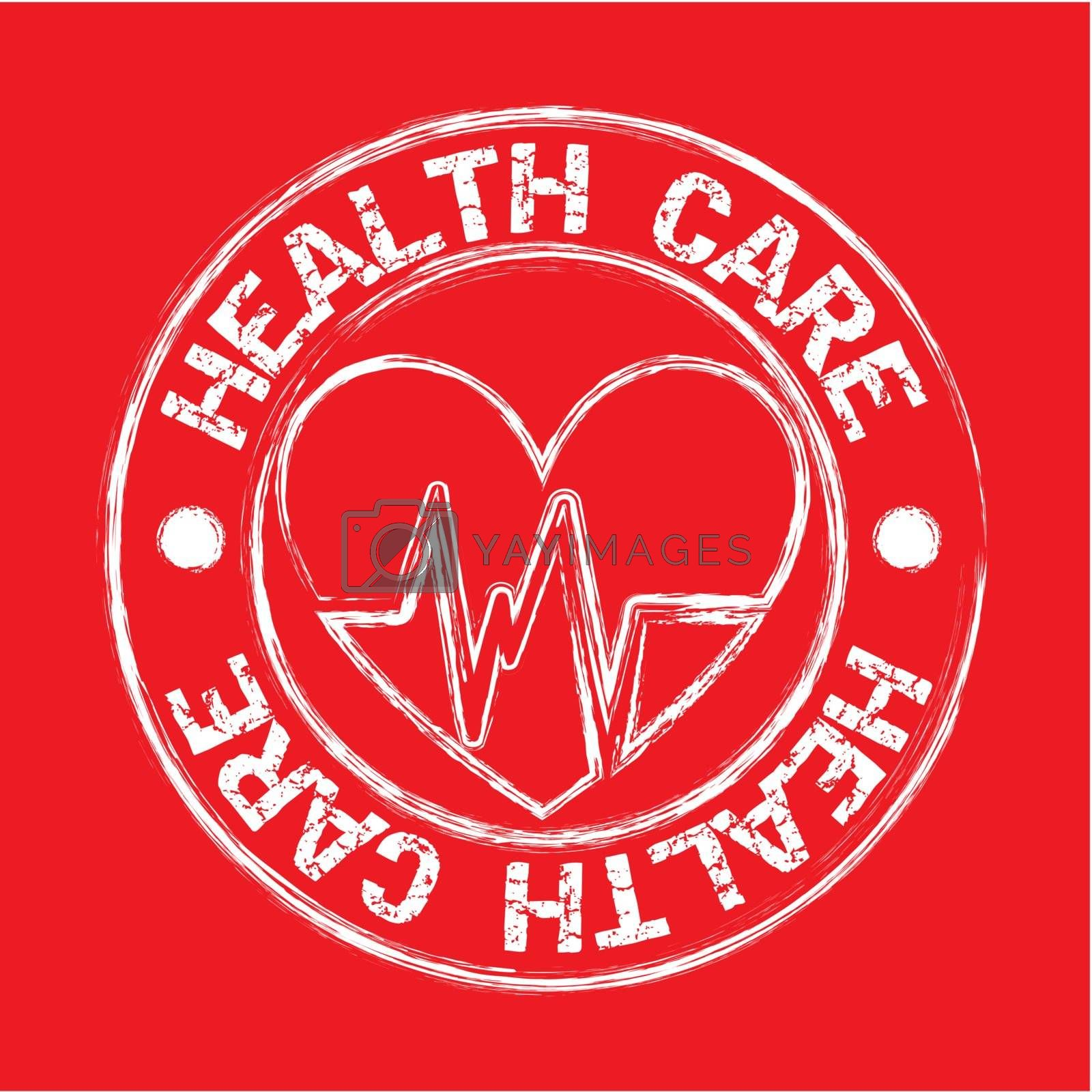 heath care seal with hearth over red background. vector illustration