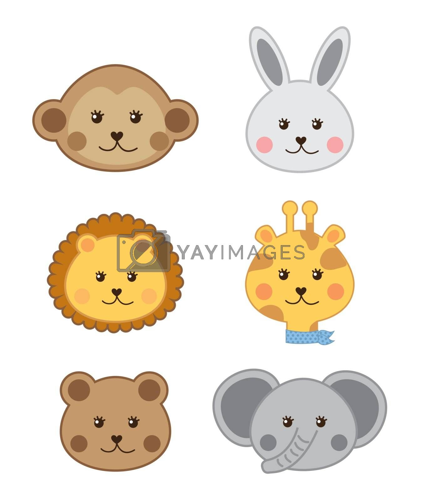 faces baby animals isolated over white background. vector illustration