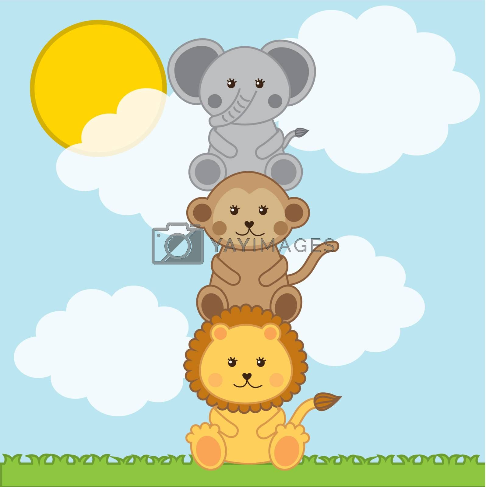 baby animals over landscape with clouds . vector illustration