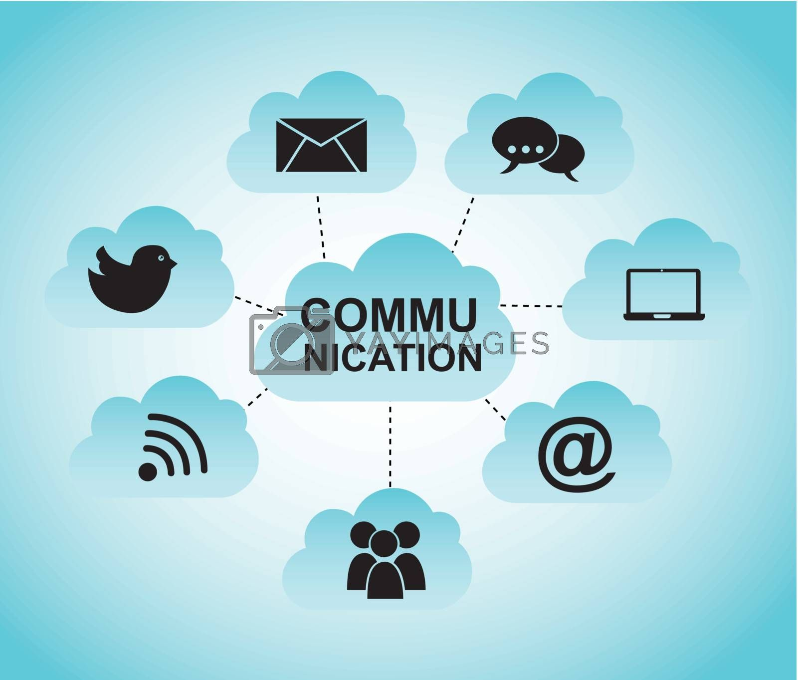 communication illustration with cloud over blue background. vector