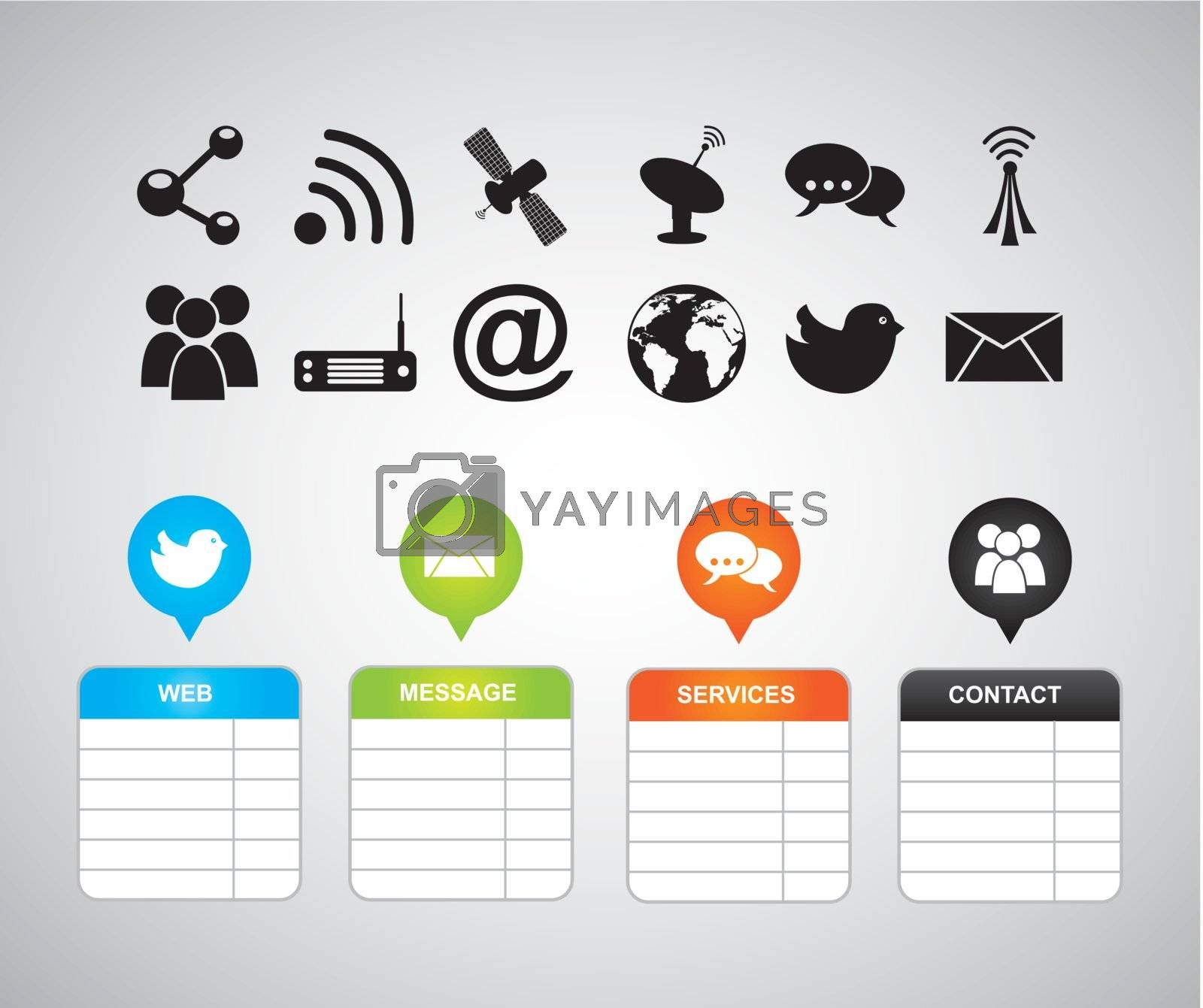 communication icons with labels over gray background. vector