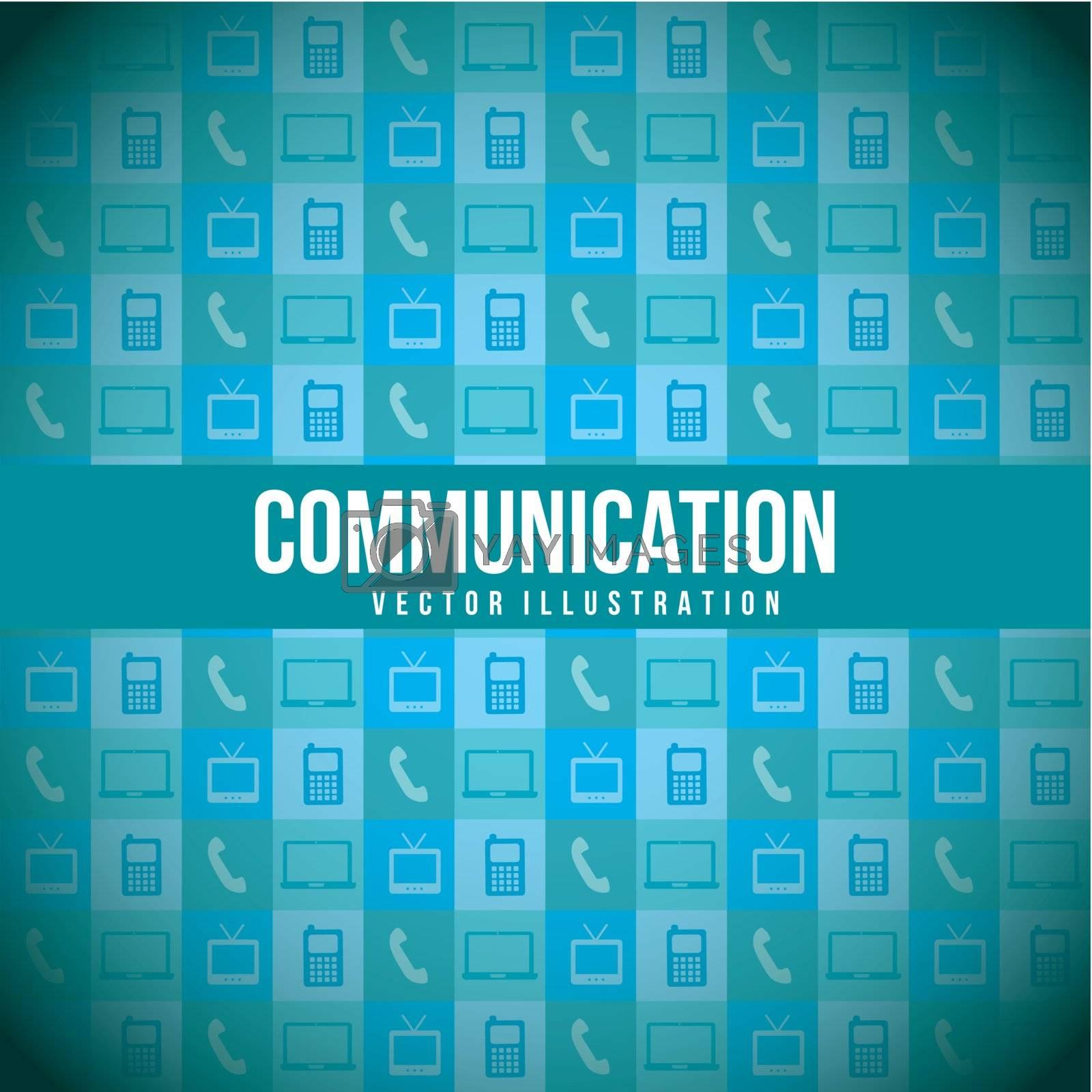 communication icons over blue background. vector illustration