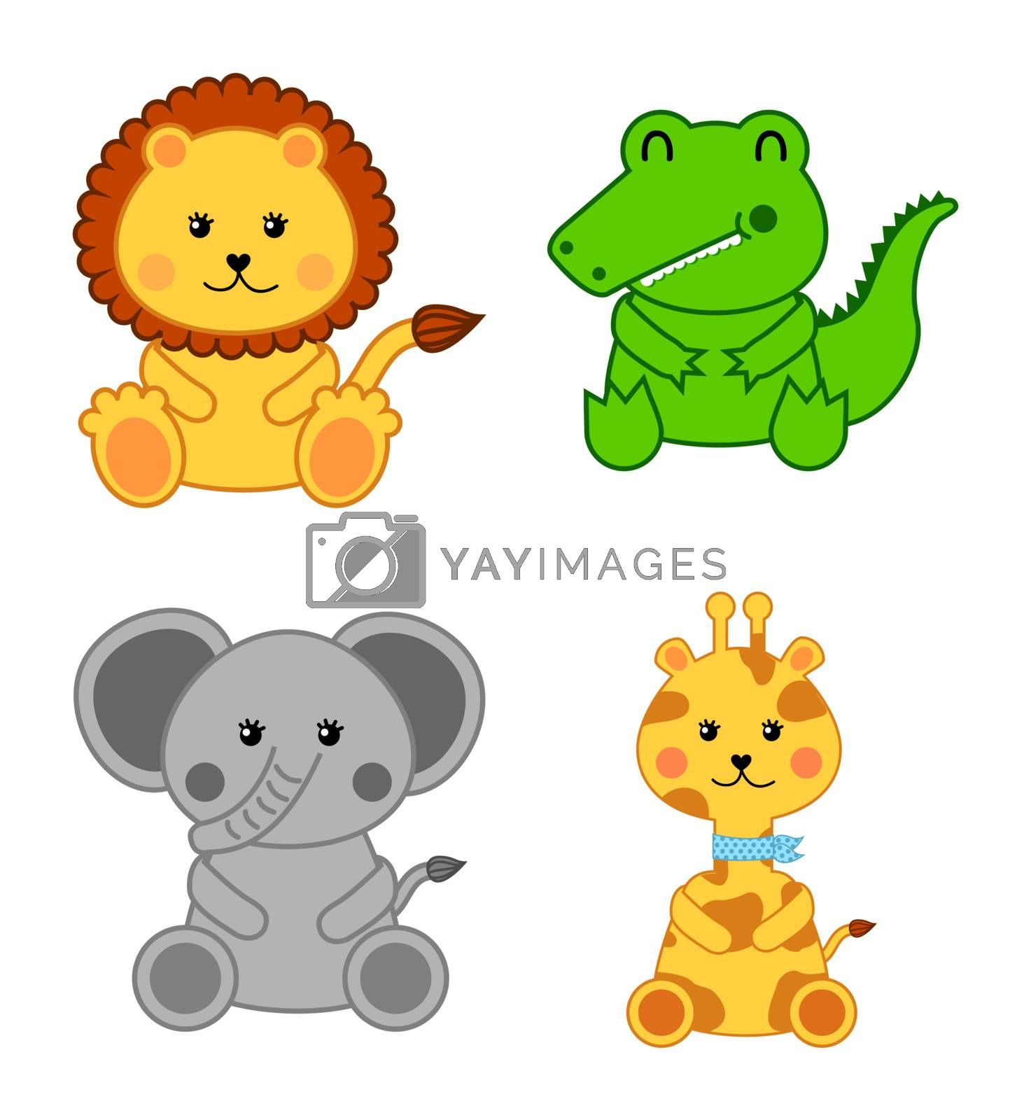 baby animals isolated over white background. vector illustration