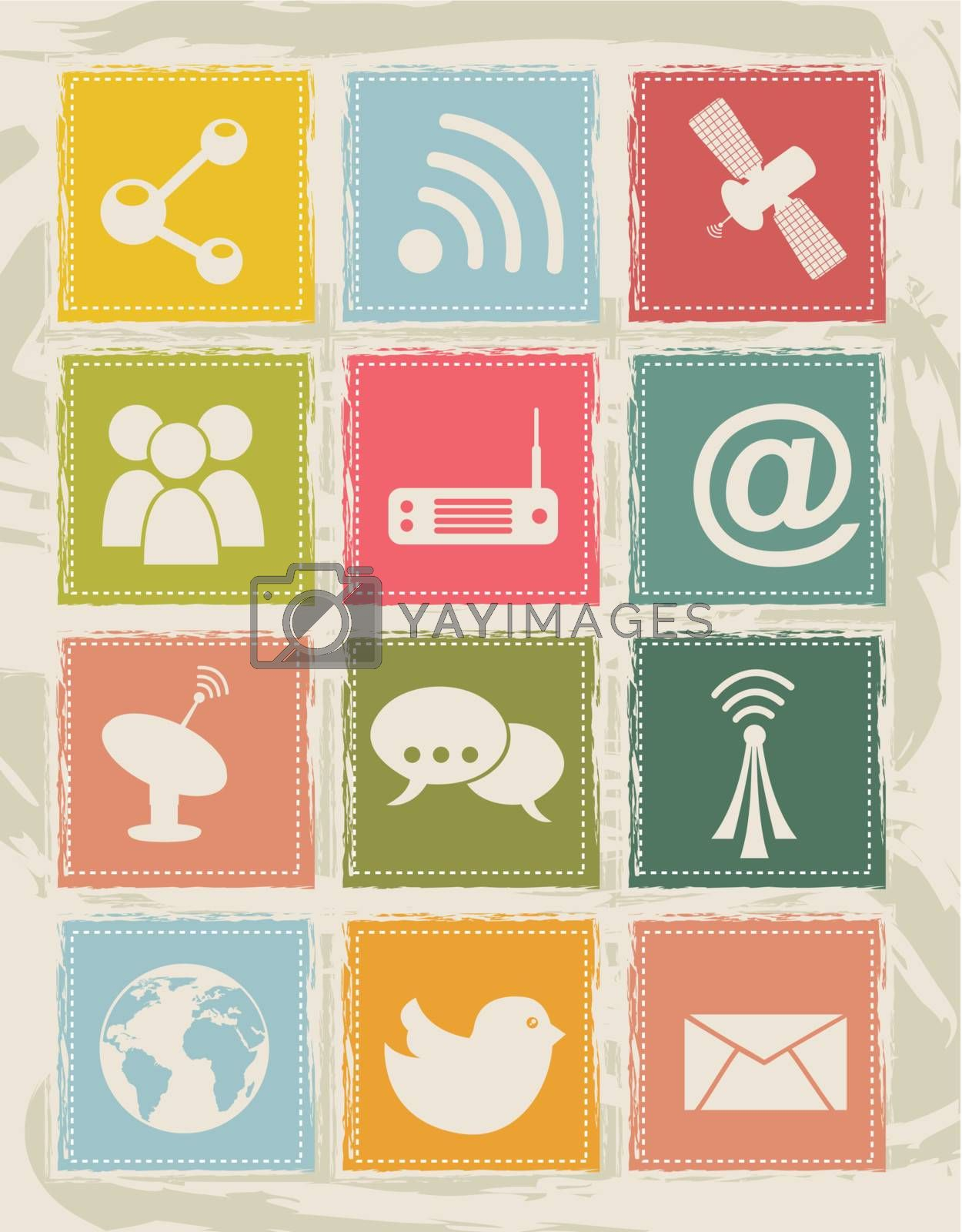 communication icons over grunge backgroud. vector illustration