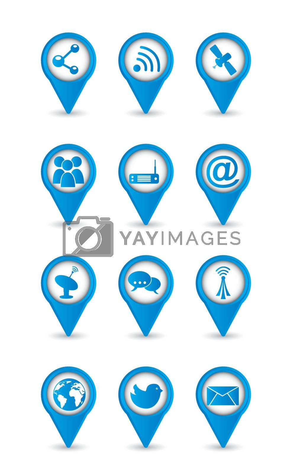 communication icons over white backgroud. vector illustration