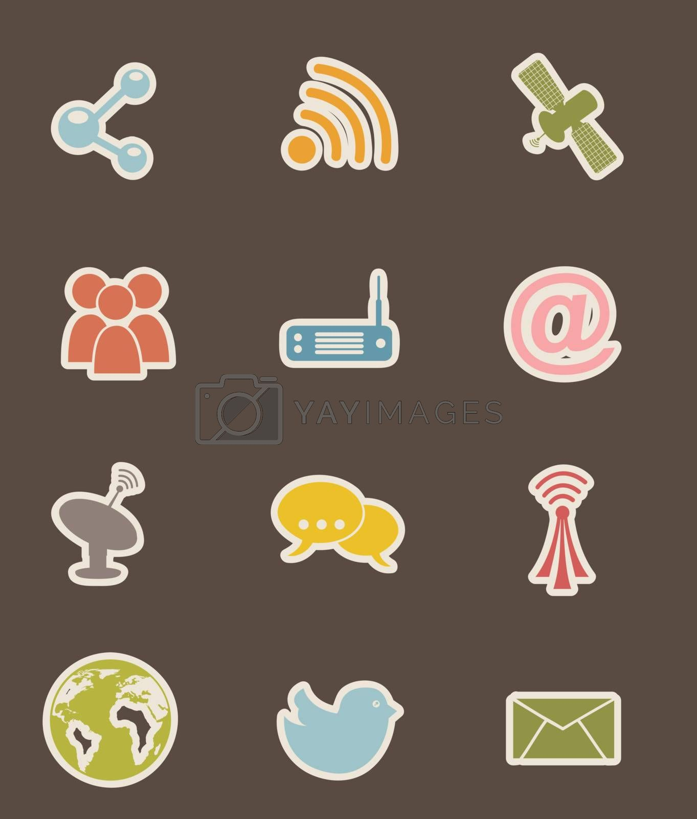 communication icons over brown backgroud. vector illustration