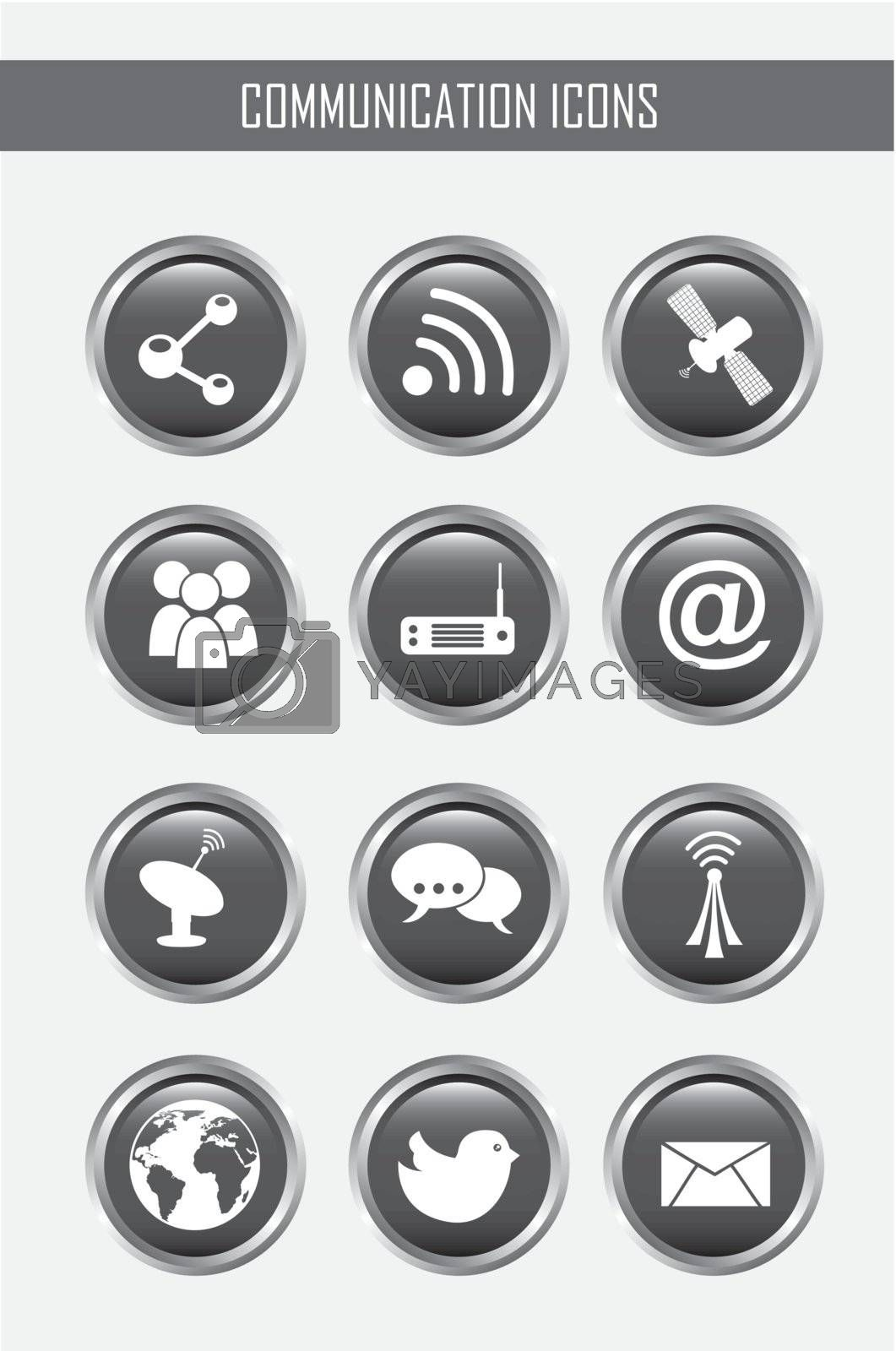 communication icons over gray backgroud. vector illustration