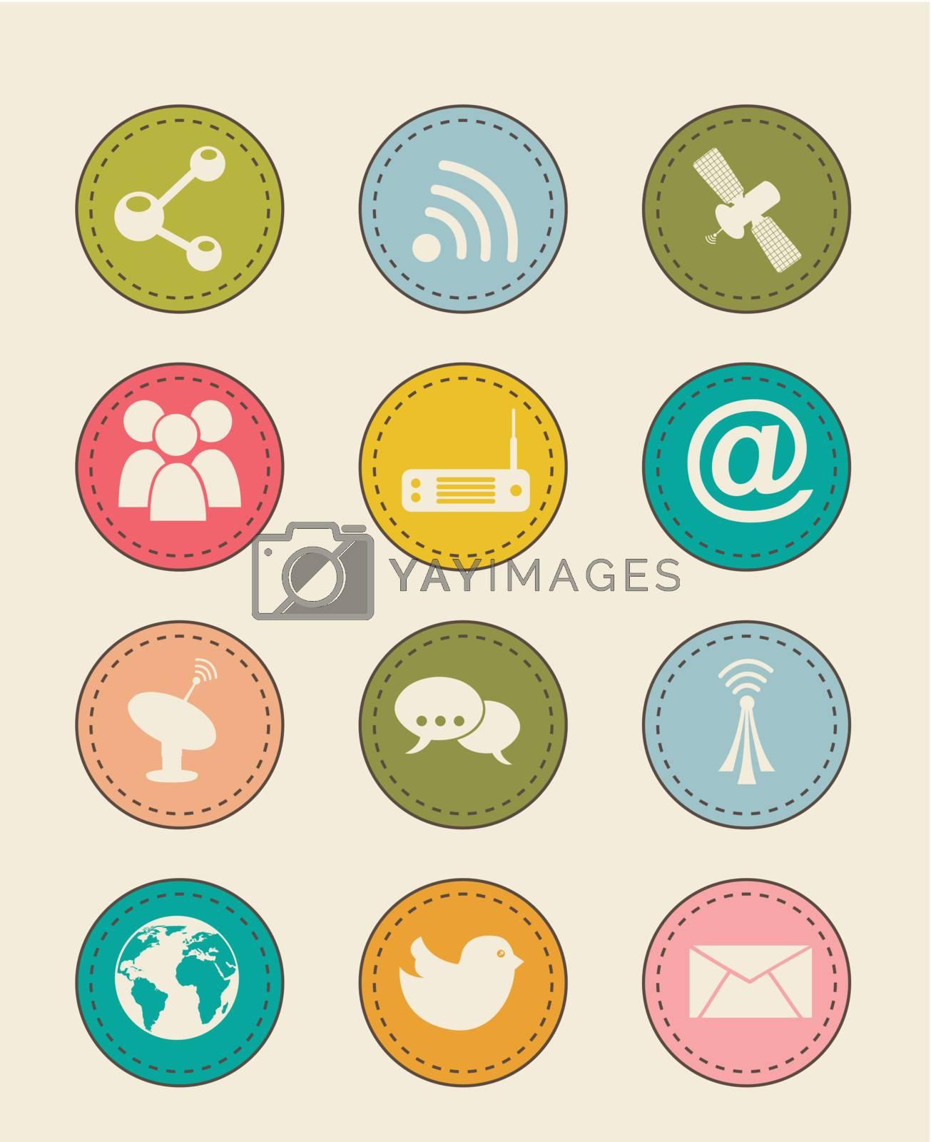 communication icons over beige backgroud. vector illustration