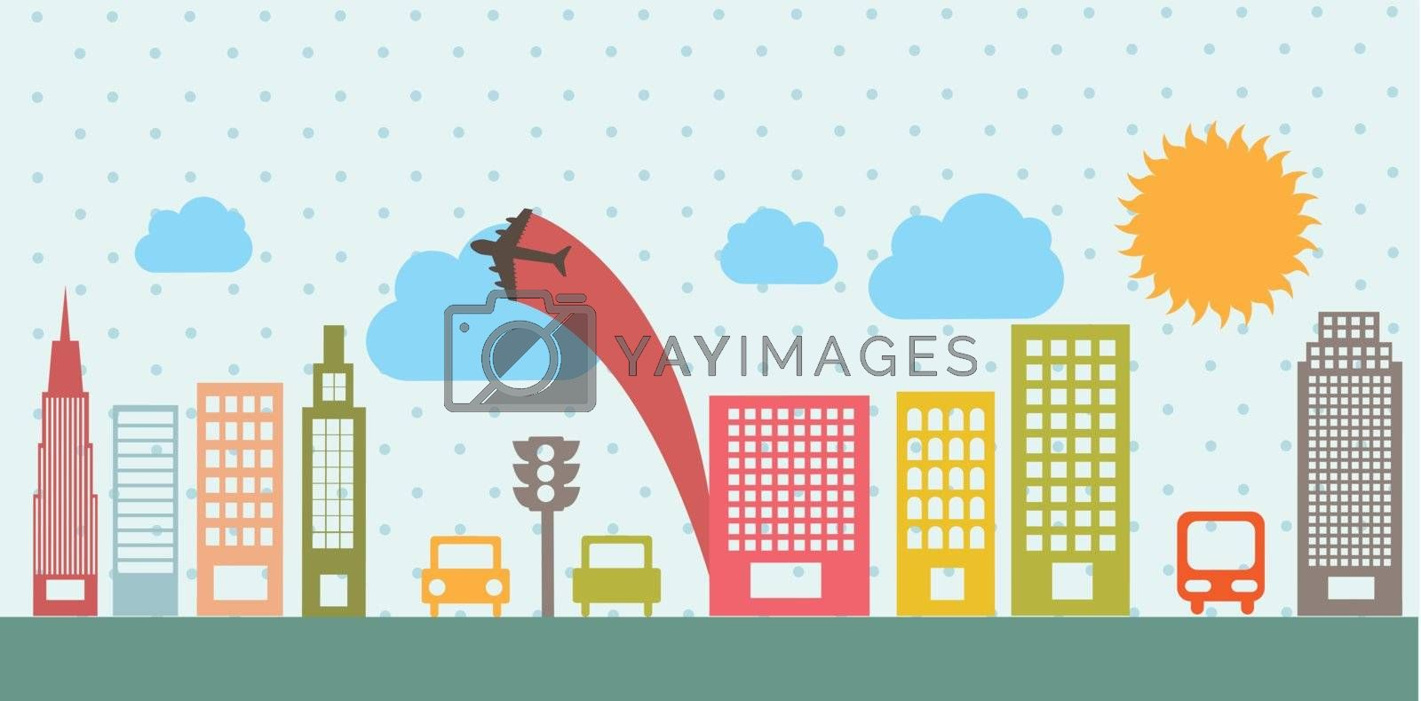 transport and city, vintage style. vector illutration