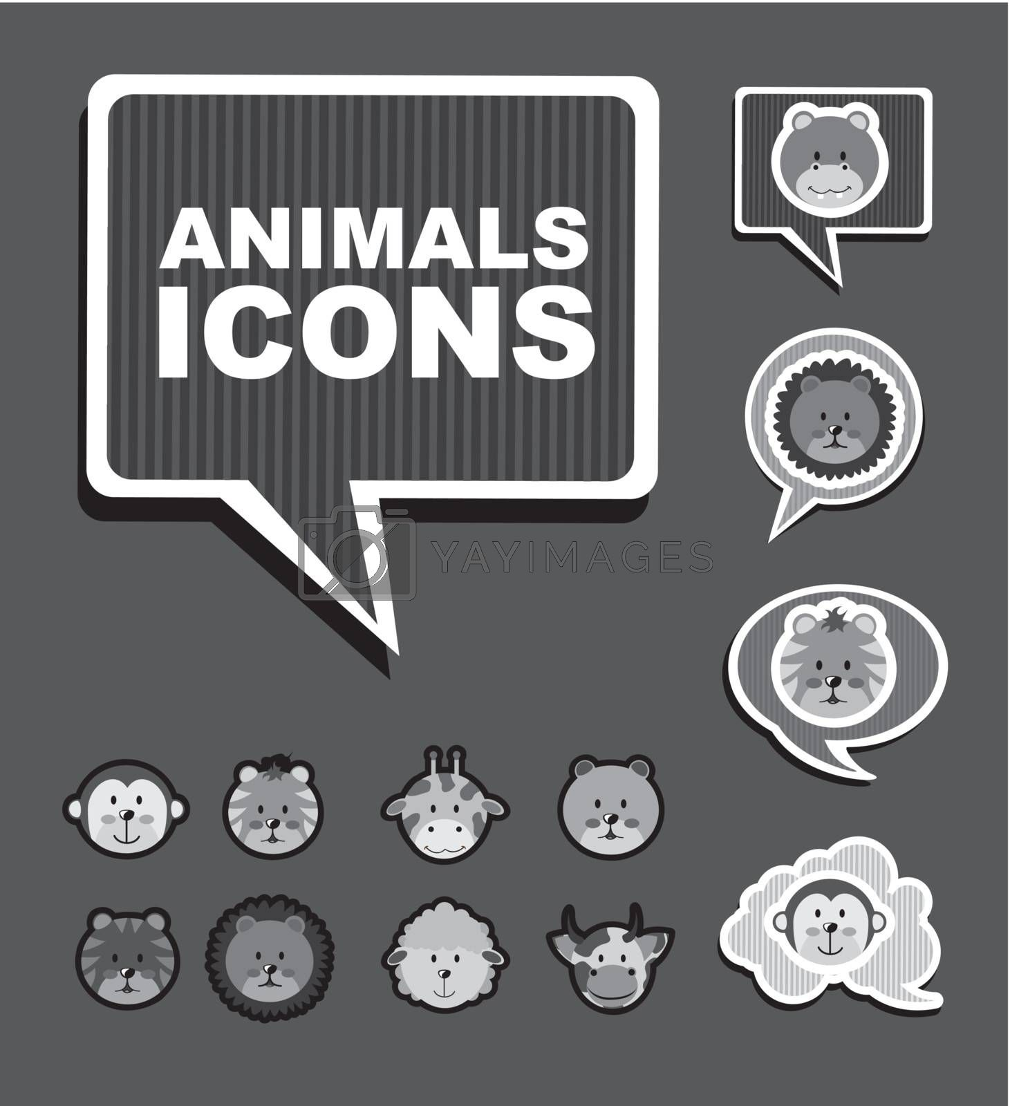 animals icons over gray background. vector illustration
