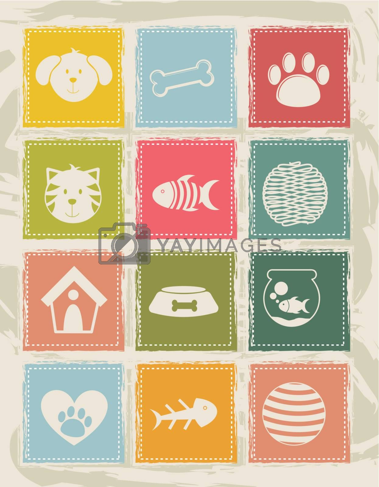 pets icons over grunge background. vector illustration