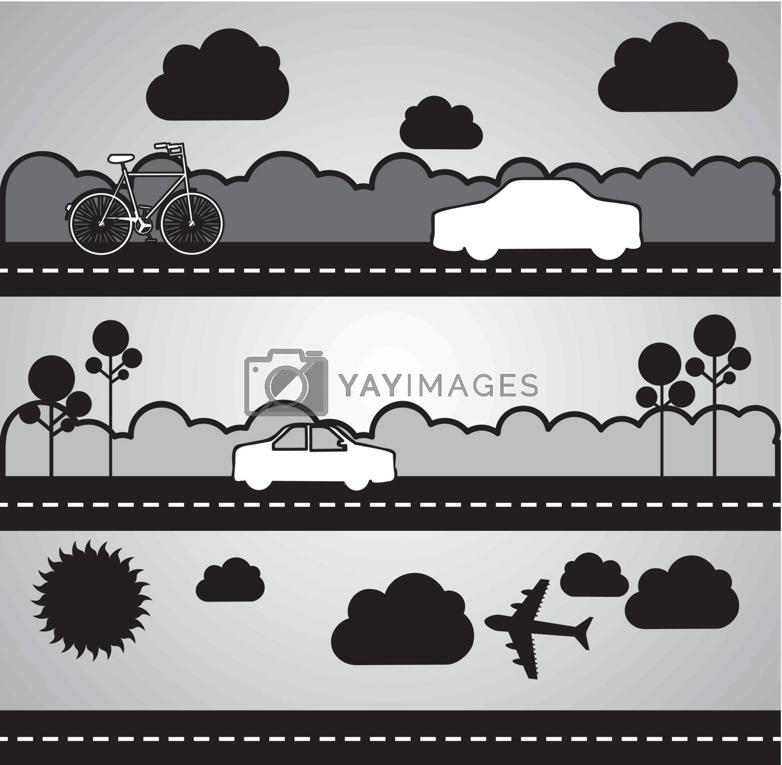 black and white transport icons. vector illutration