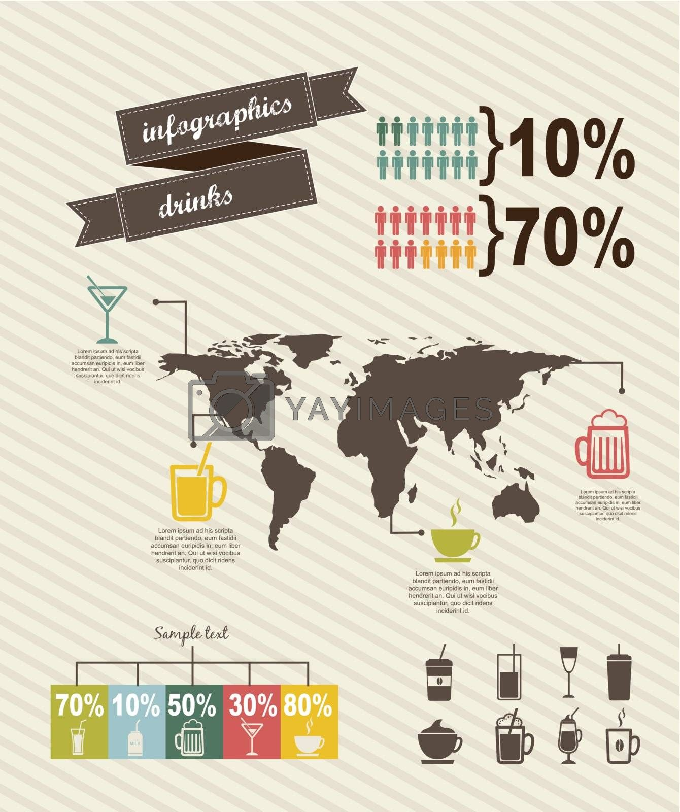 infographics of drinks, vintage style. vector illustration