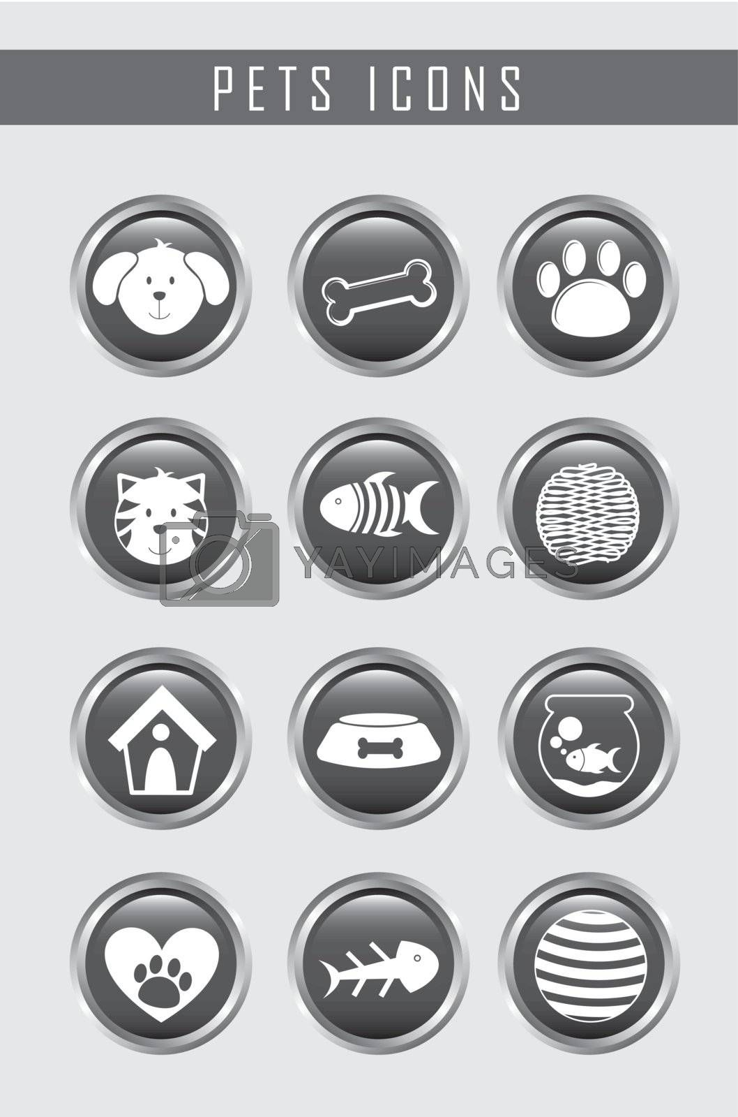 pets icons over gray background. vector illustration