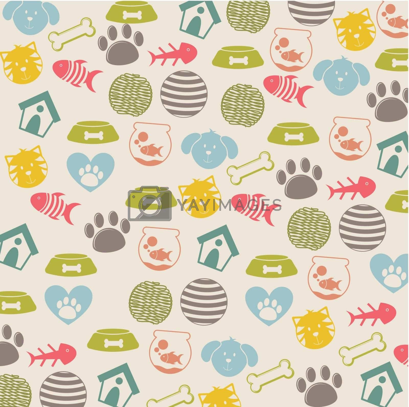 pets icons over beige background. vector illustration