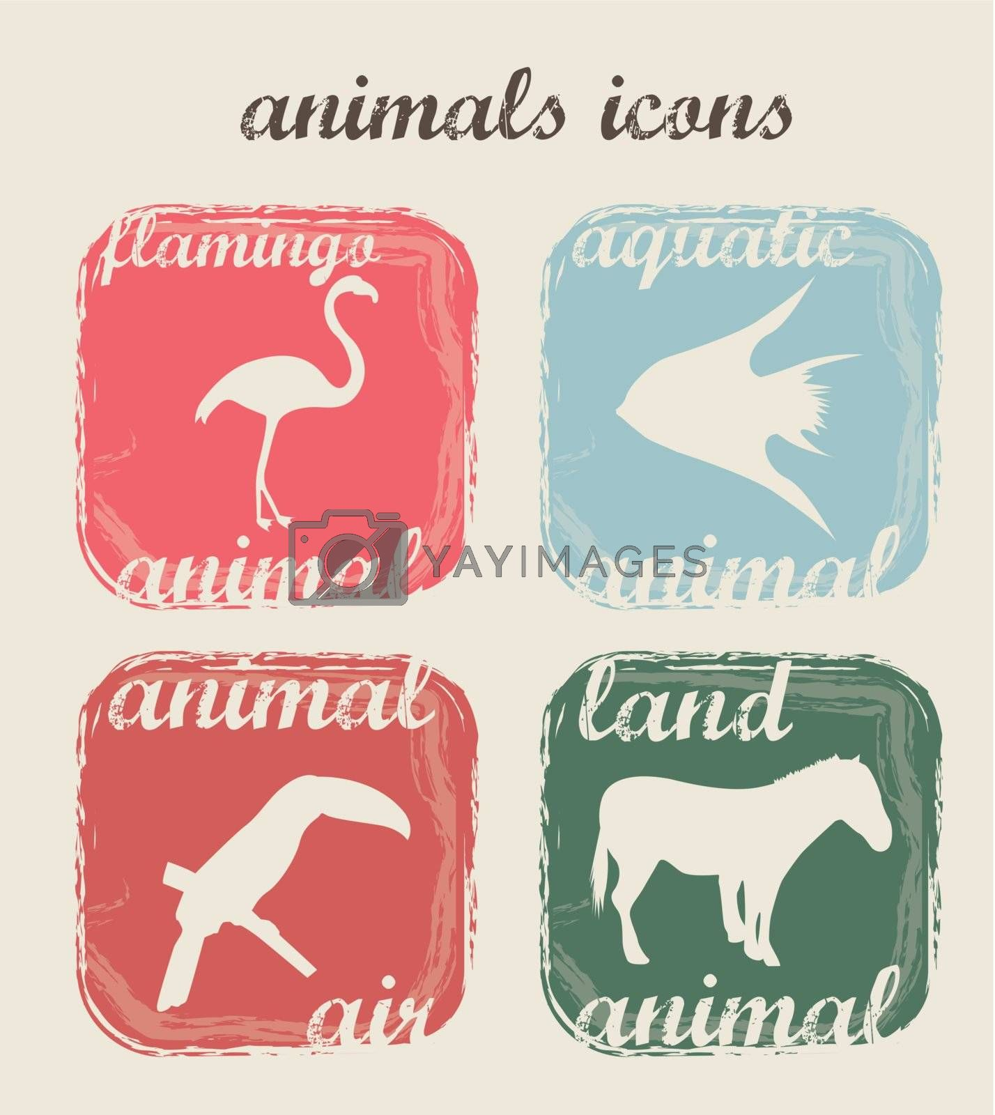 silhouette animals over beige background. vector illustration