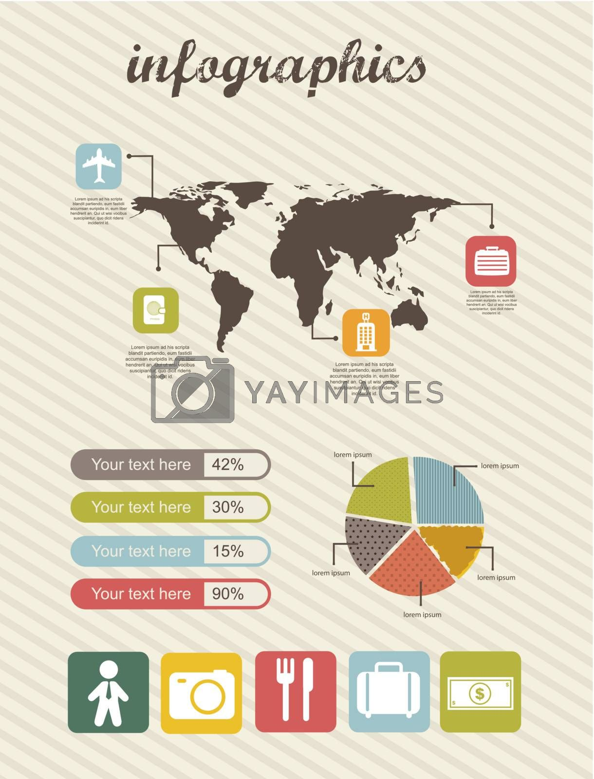 infographics of business travel, vintage style. vector illustration