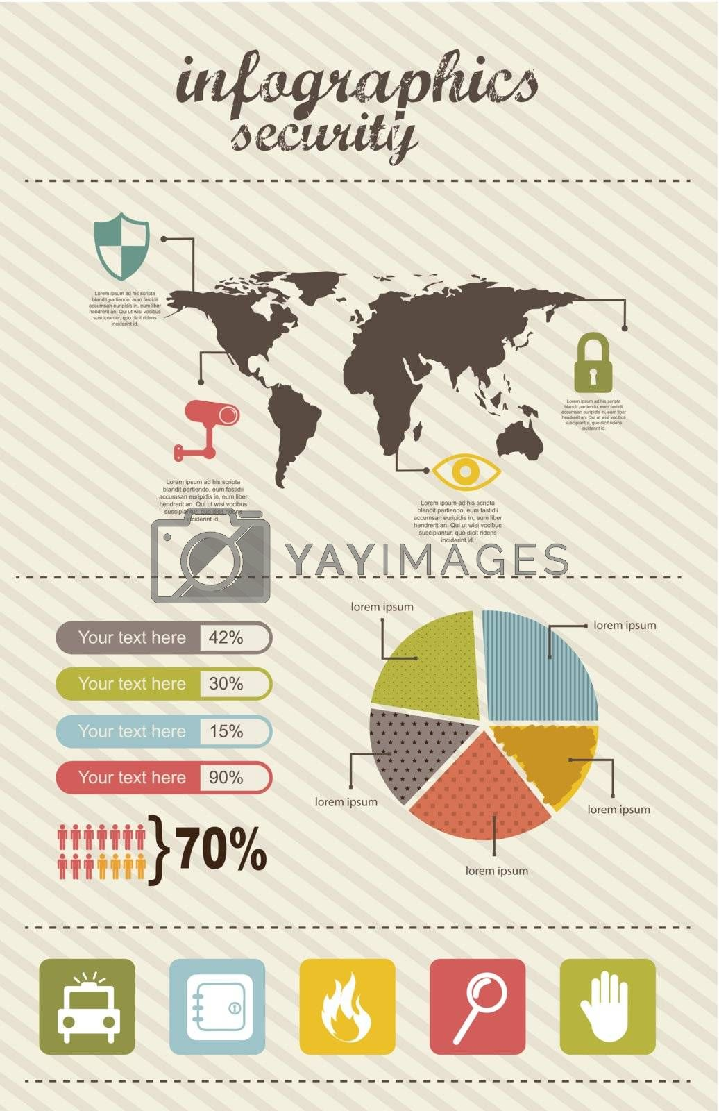 infographics of security, vintage style. vector illustration