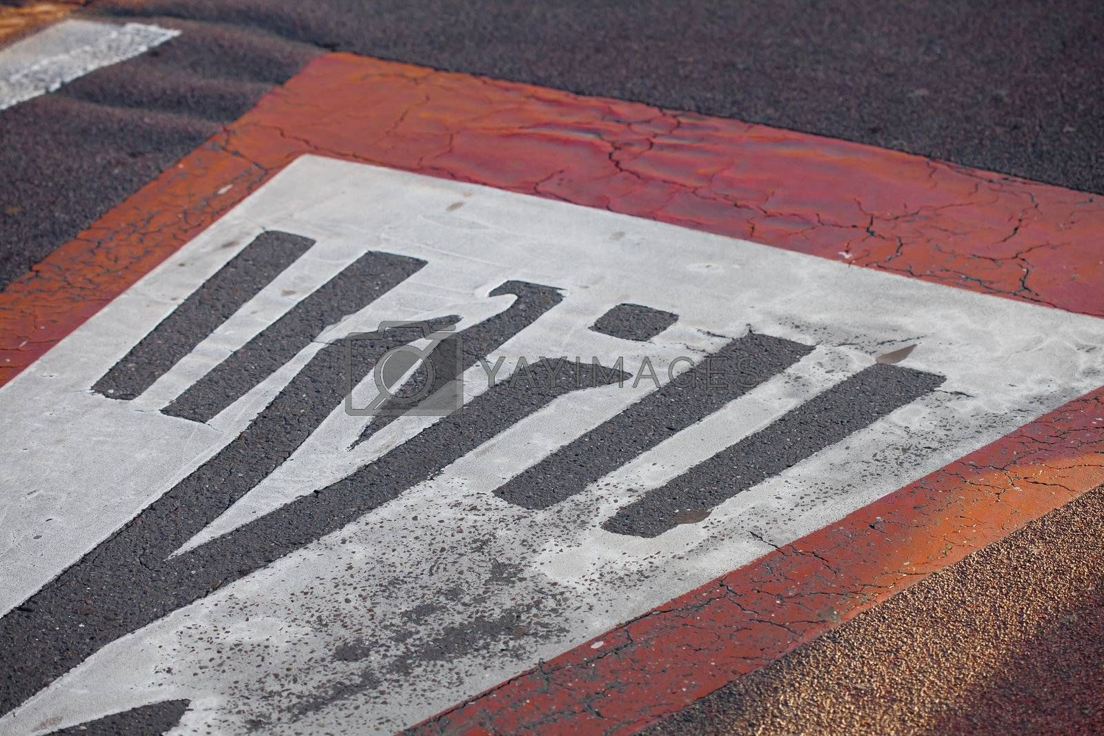 travel signs painted on the road
