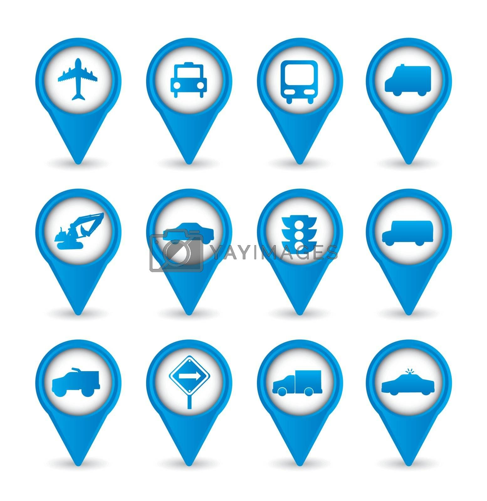 transport icons over white background. vector illustration