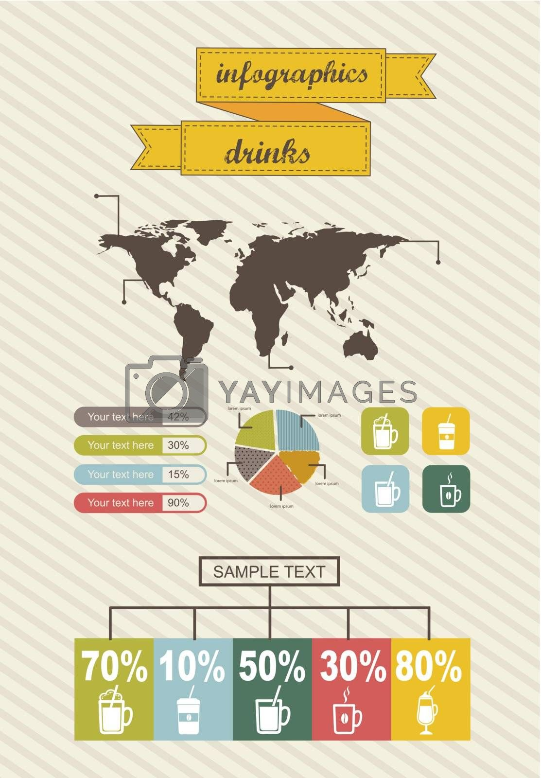 infographics with bar, vintage style. vector illustration