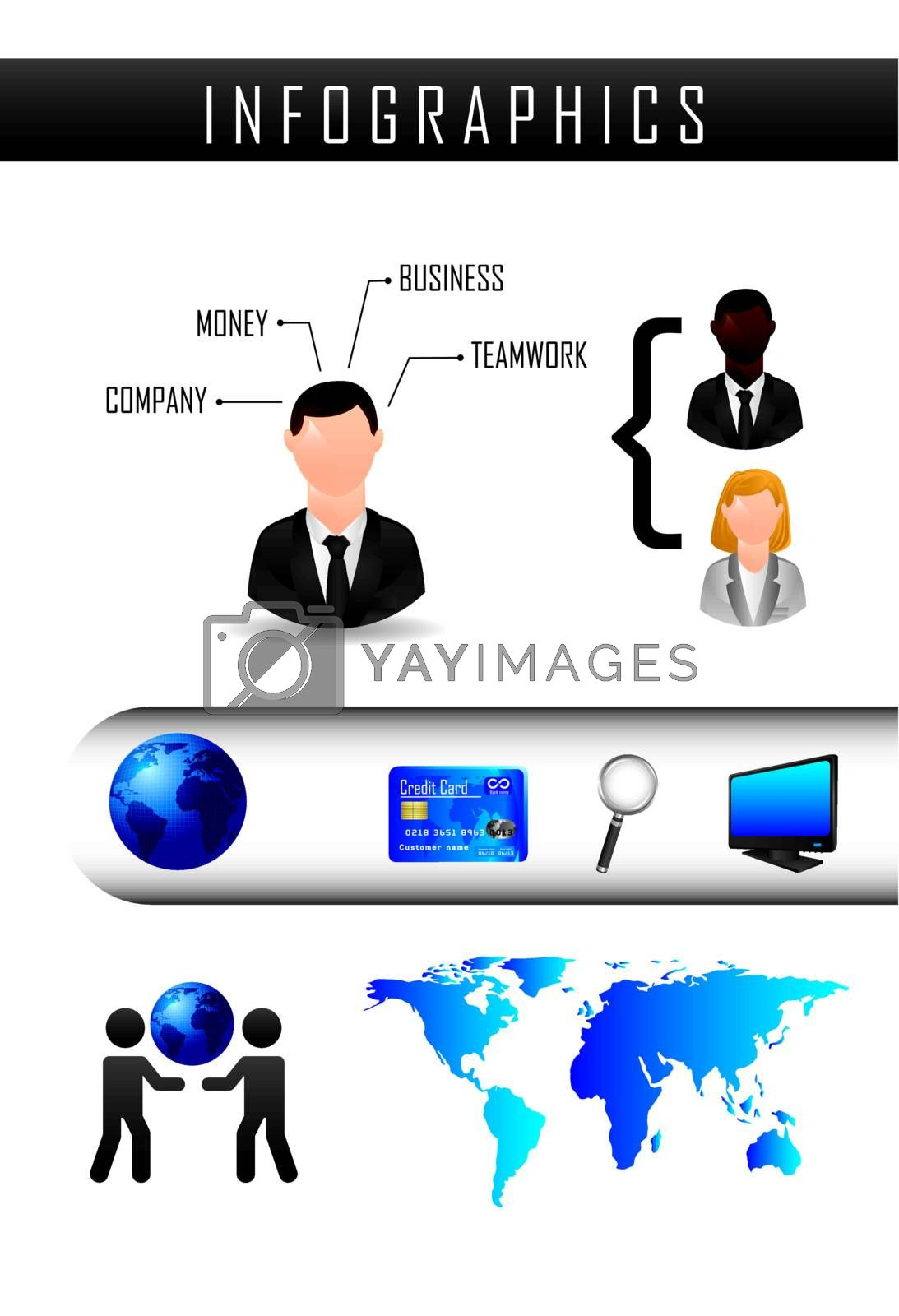 infographics of business, vintage style. vector illustration