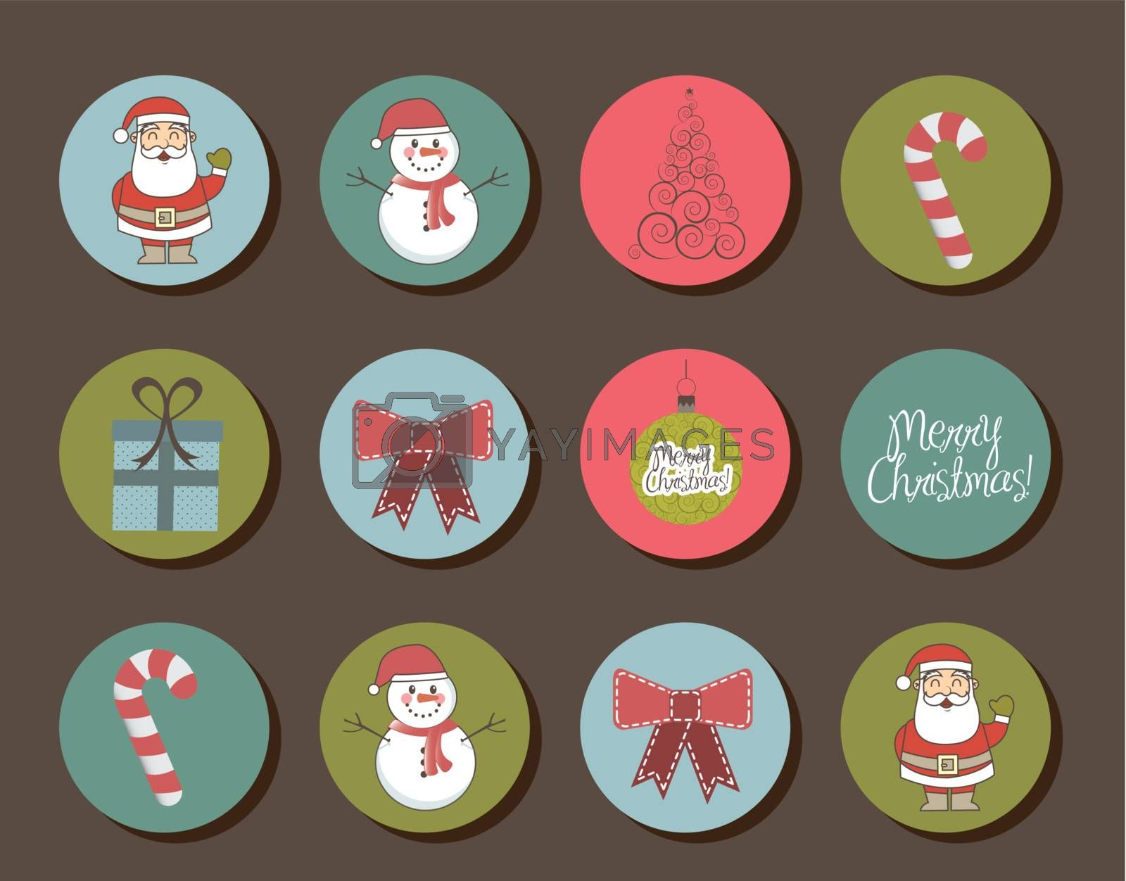 cute objects christmas, vintage style. vector illustration
