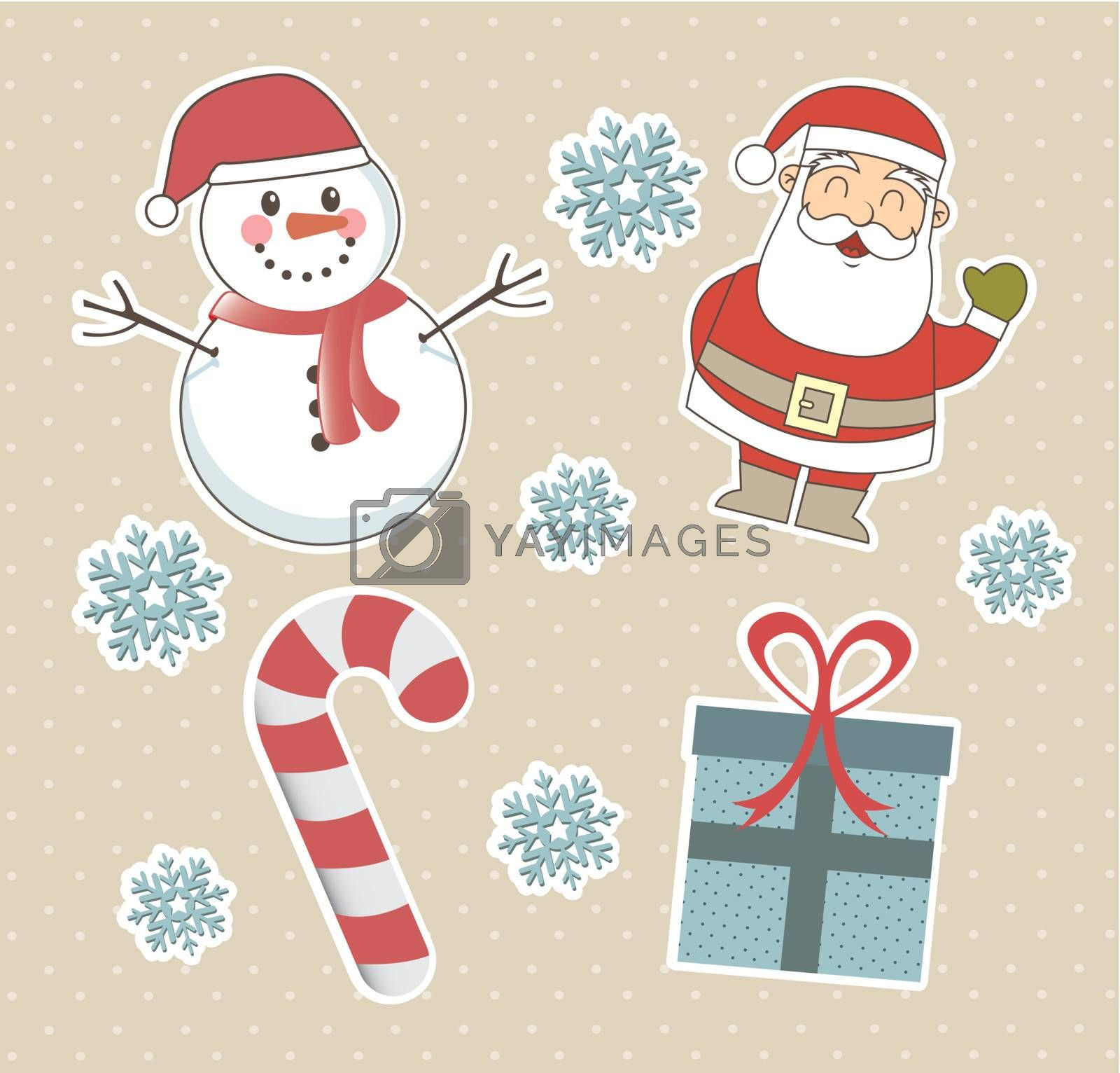 santa with snowman and gifts, christmas objects. vector
