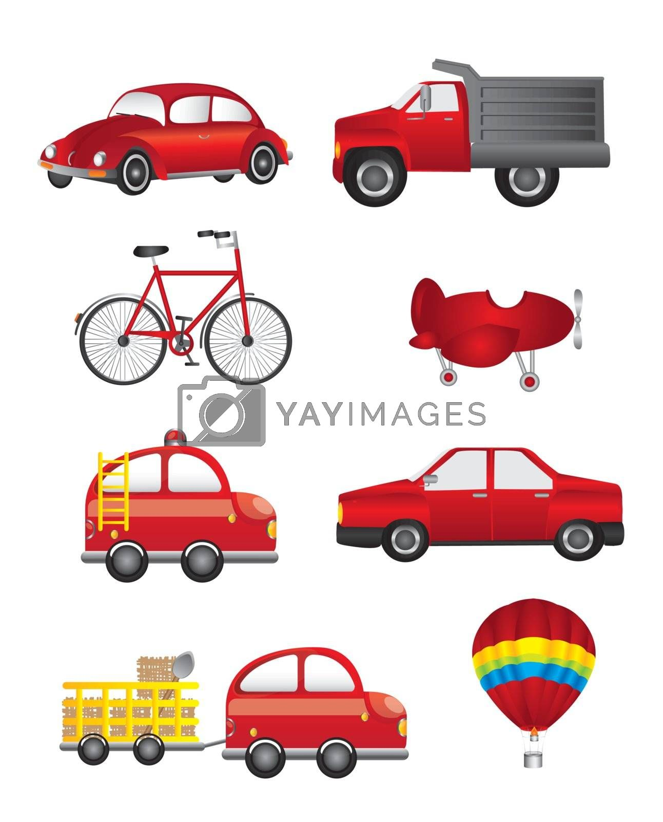 red transport isolated over white background. vector illustration