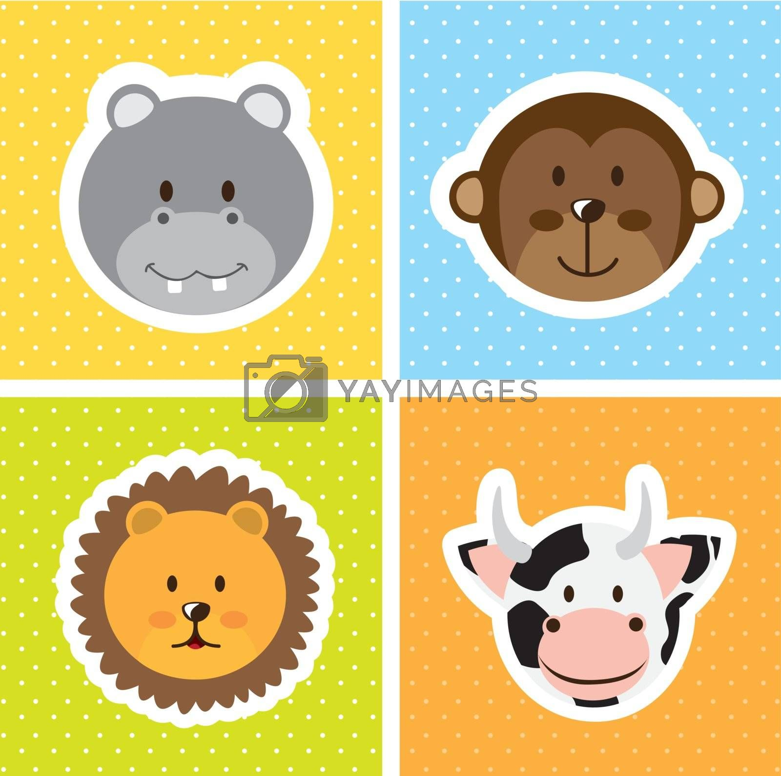 cute animals faces over squares. vector illustration