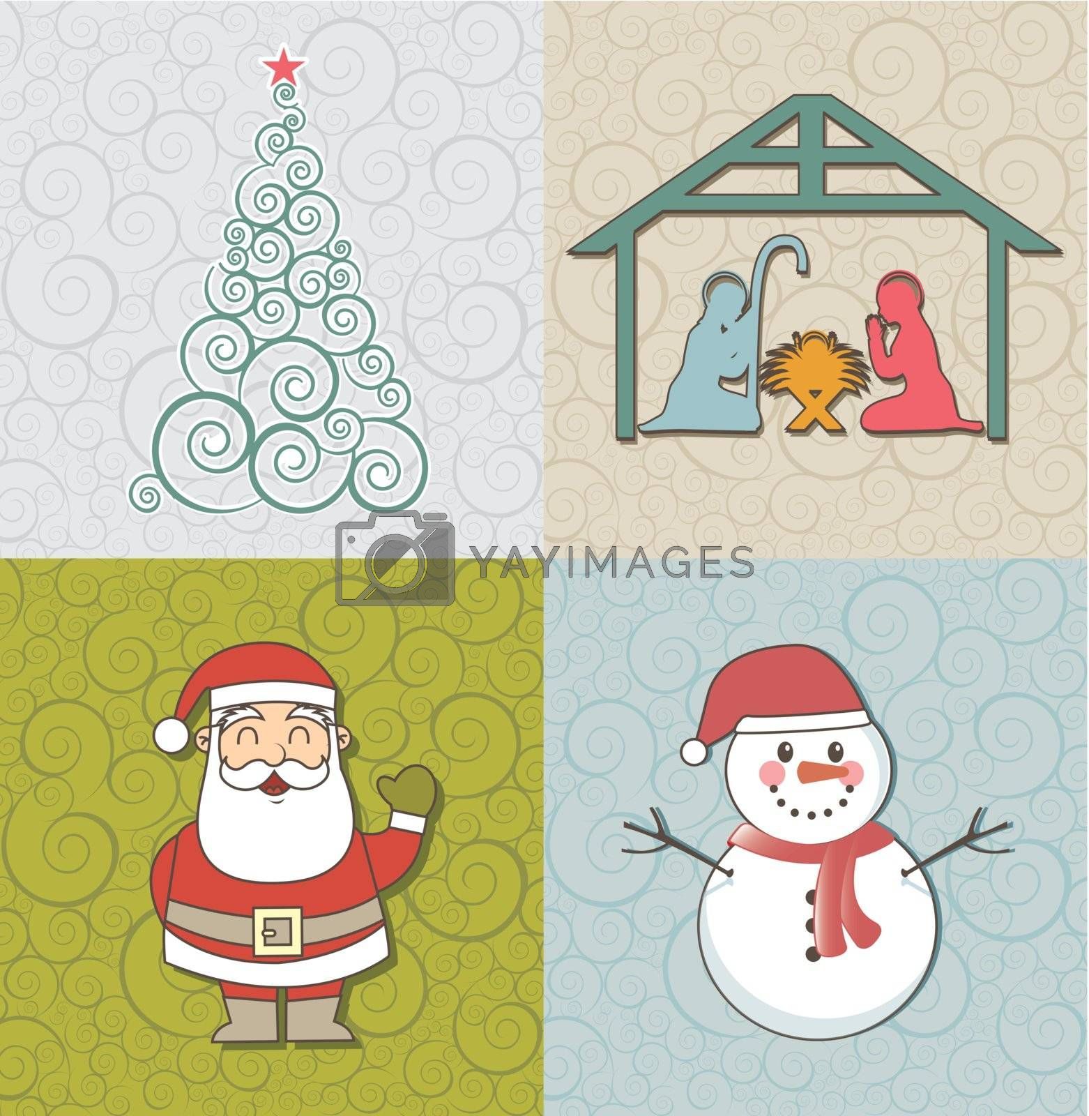 cute christmas cards, vintage style. vector illustration